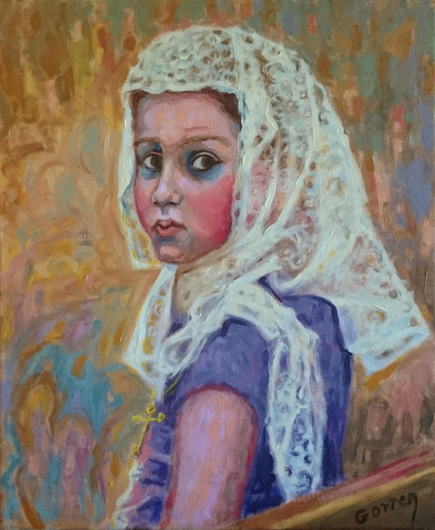 Jeune Chrétienne d'Orient au culte - huile sur toile - 38 x 46 cm