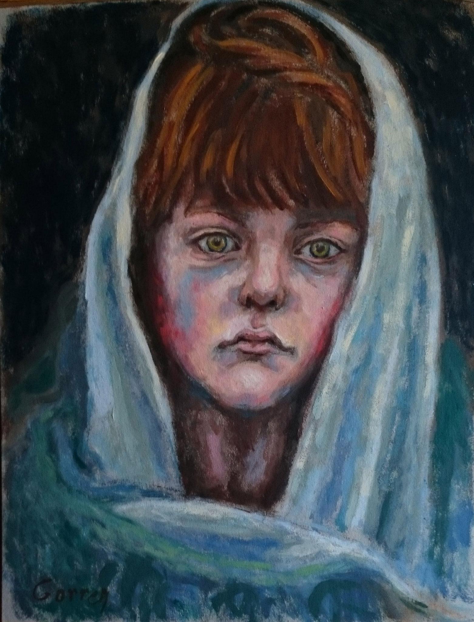 Enfant Yazidi pendant l'exode - huile sur carton - 30 x 40 cm
