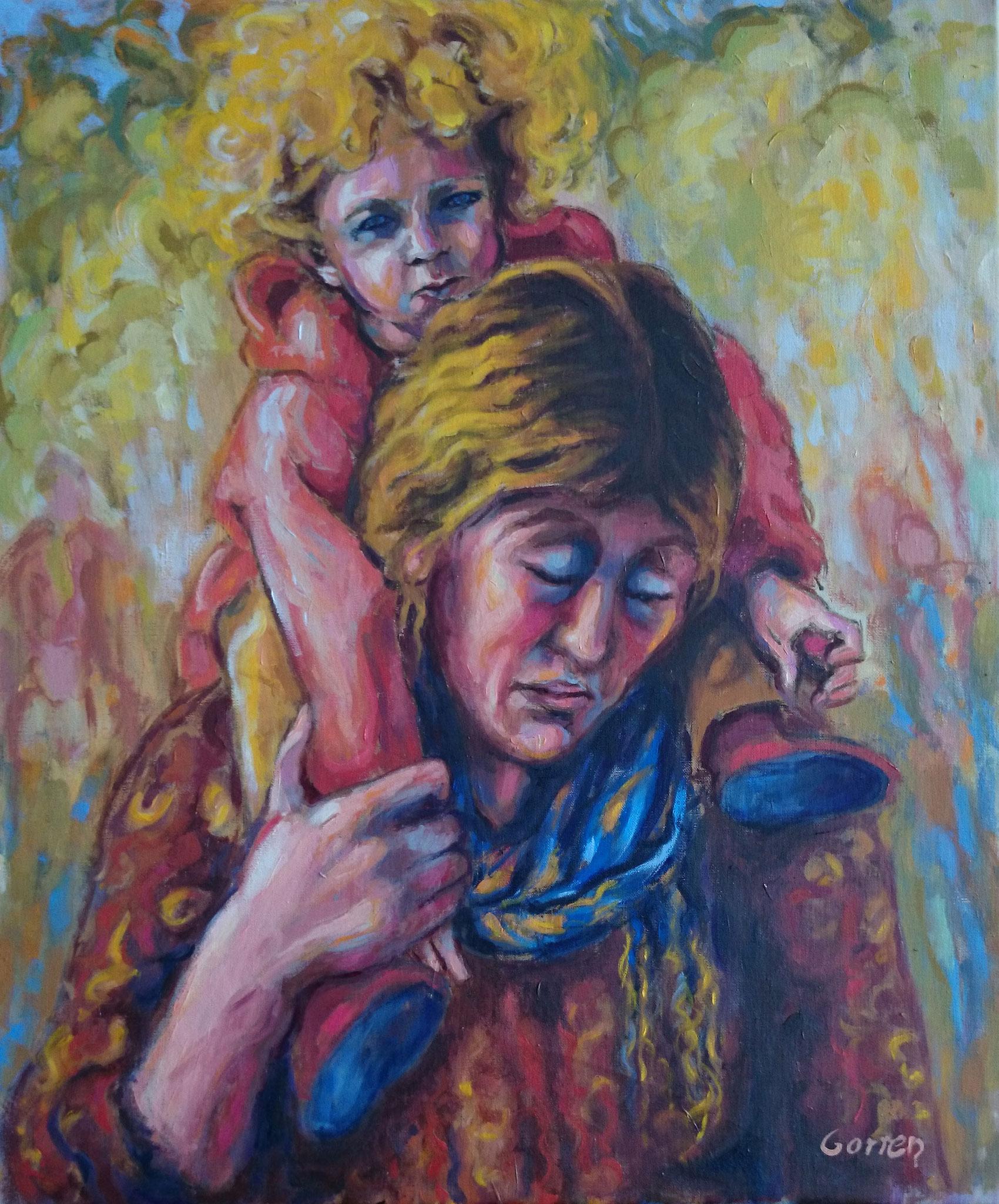 Exode des Yazidis - Mère et enfant - Huile sur toile - 55 x 46 cm