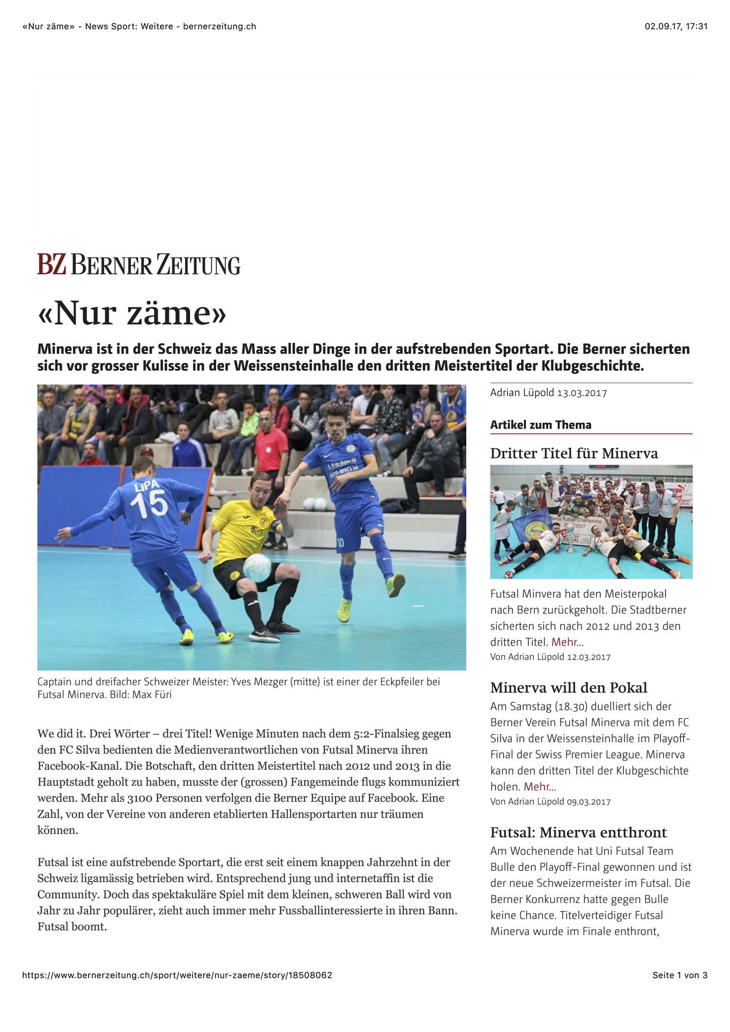 Berner Zeitung BZ - 13. März 2017 - S. 1