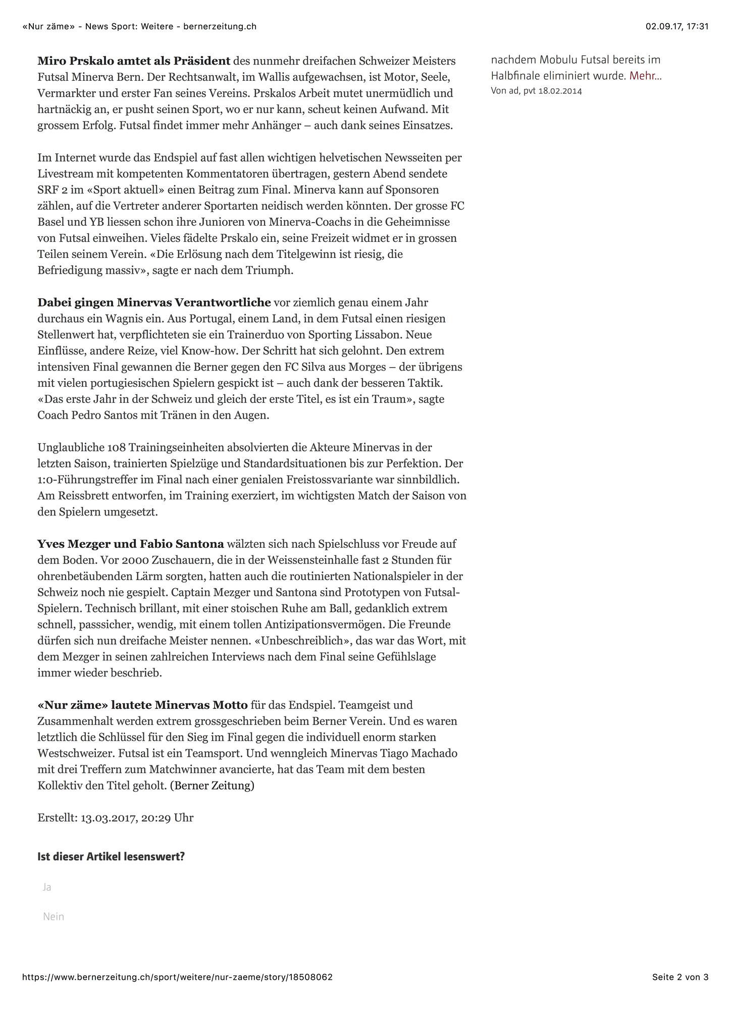 Berner Zeitung BZ - 13. März 2017 - S. 2