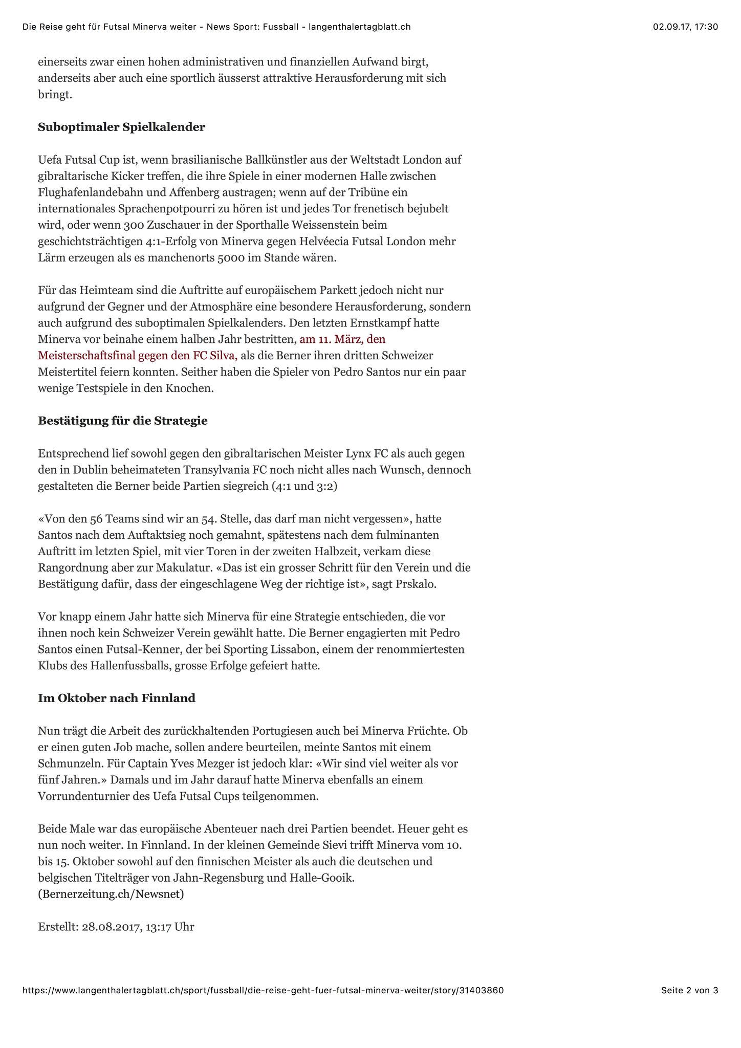 Berner Zeitung BZ - 28. August 2017 - S. 2