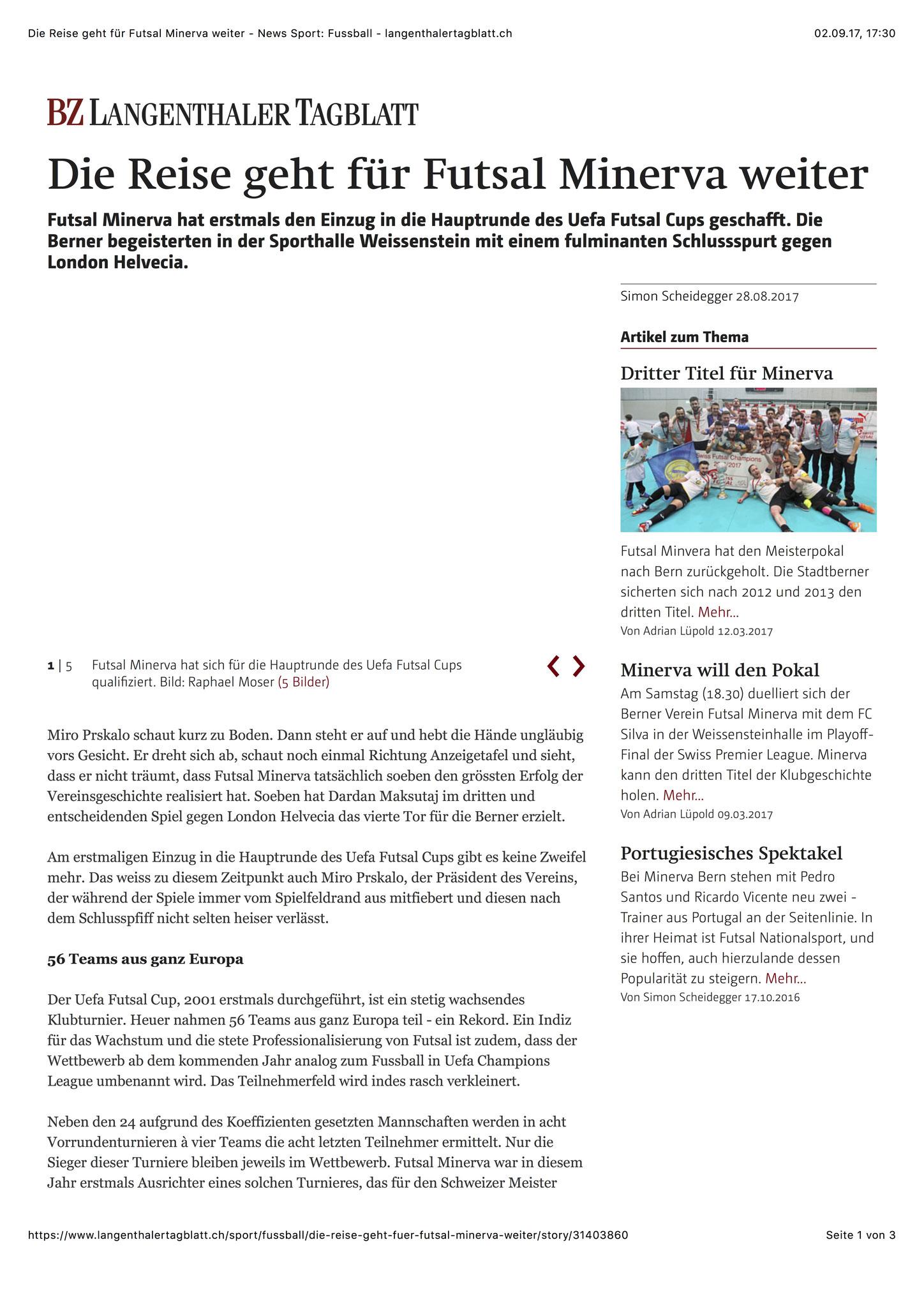 Berner Zeitung BZ - 28. August 2017 - S. 1
