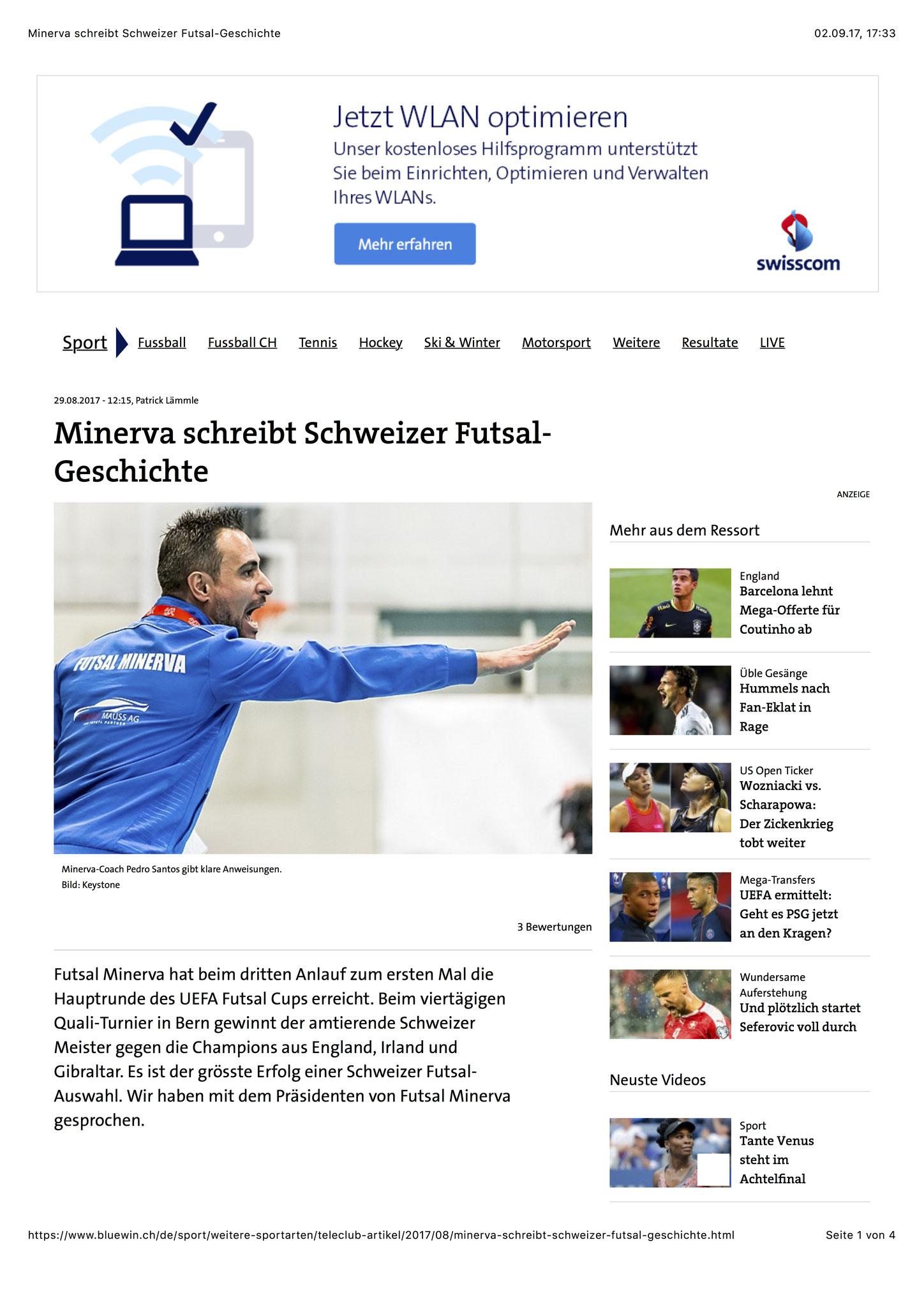 Bluewin Sport - 28. August 2017 - S. 1