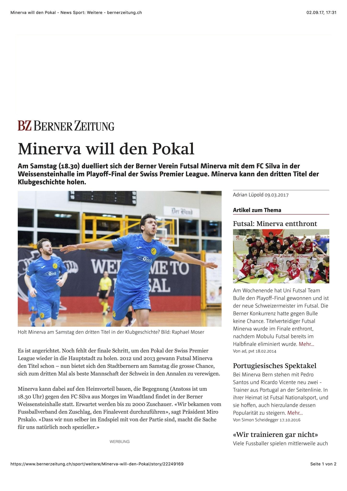 Berner Zeitung BZ - 09. März 2017 - S. 1