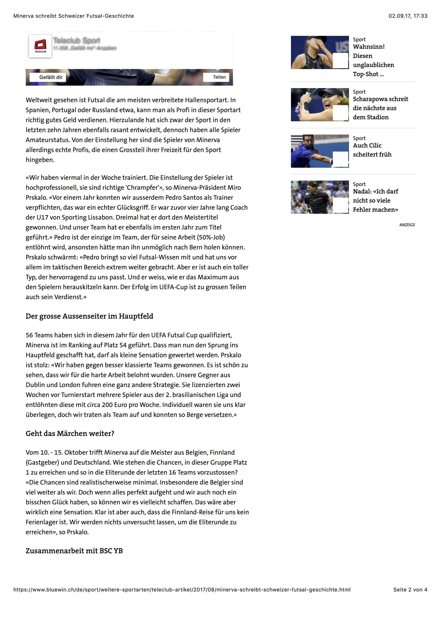 Bluewin Sport - 28. August 2017 - S. 2