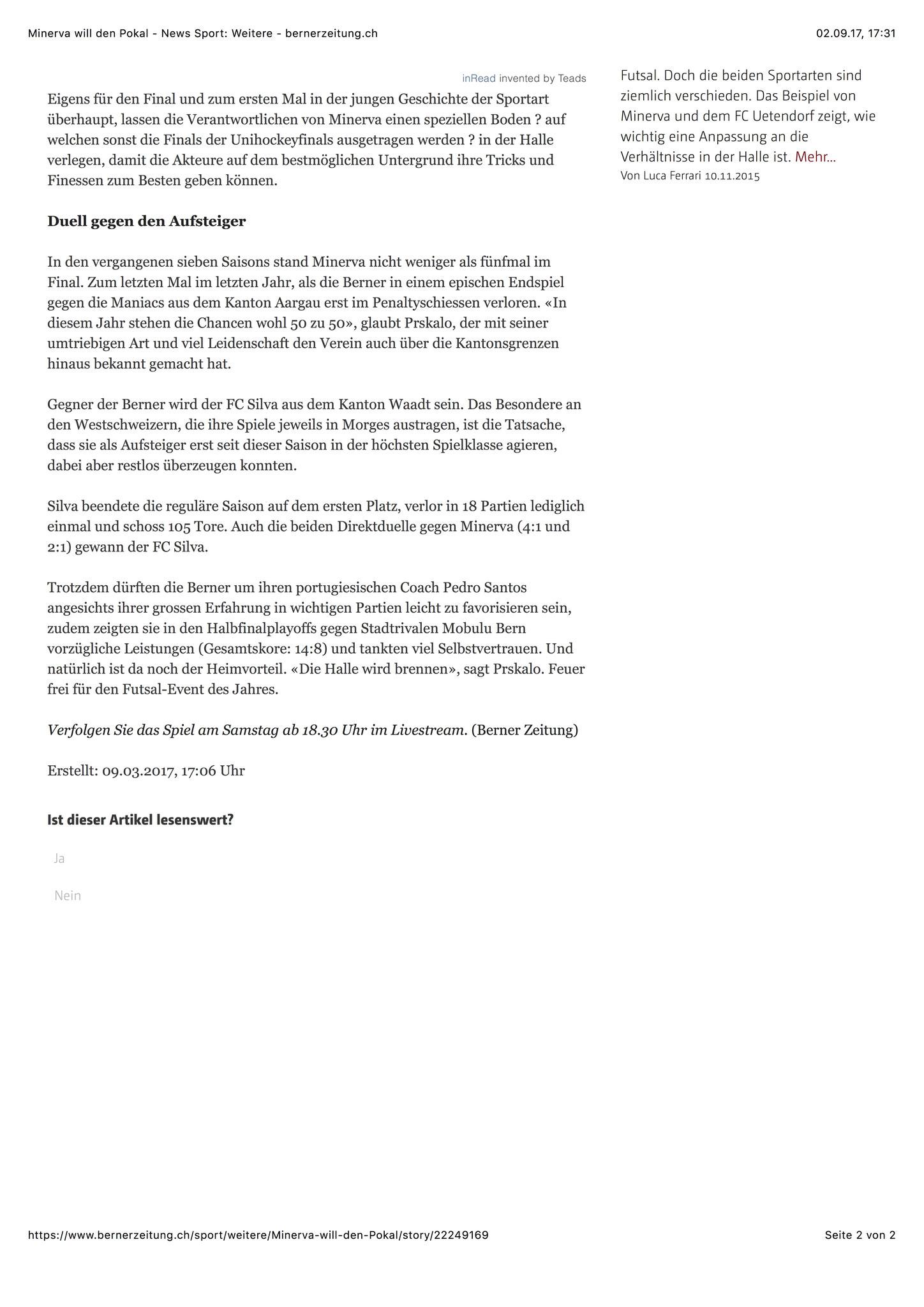 Berner Zeitung BZ - 09. März 2017 - S. 2