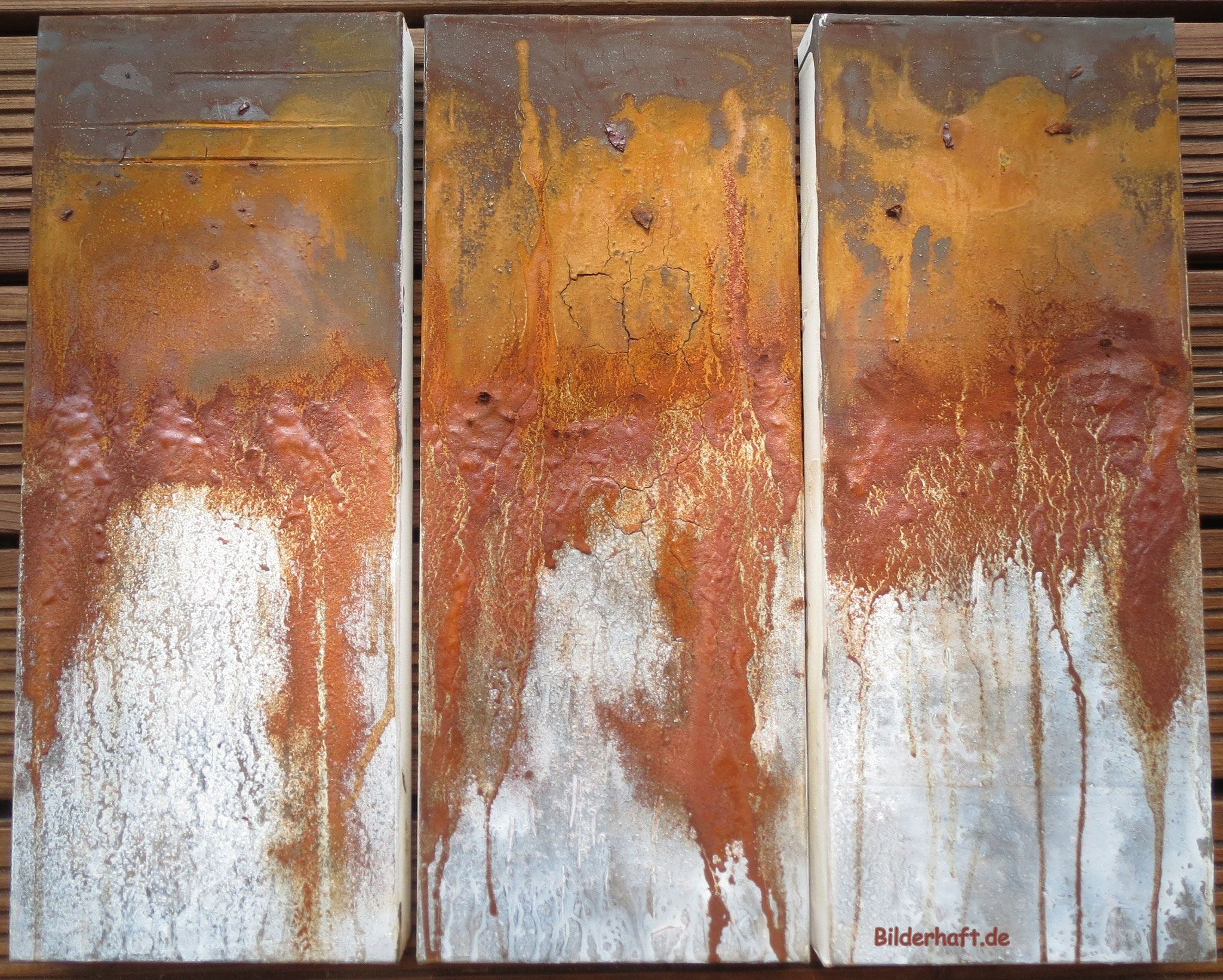 My Way, Mixed Media mit Rost, 3 x 20 x 60 x 4,5cm