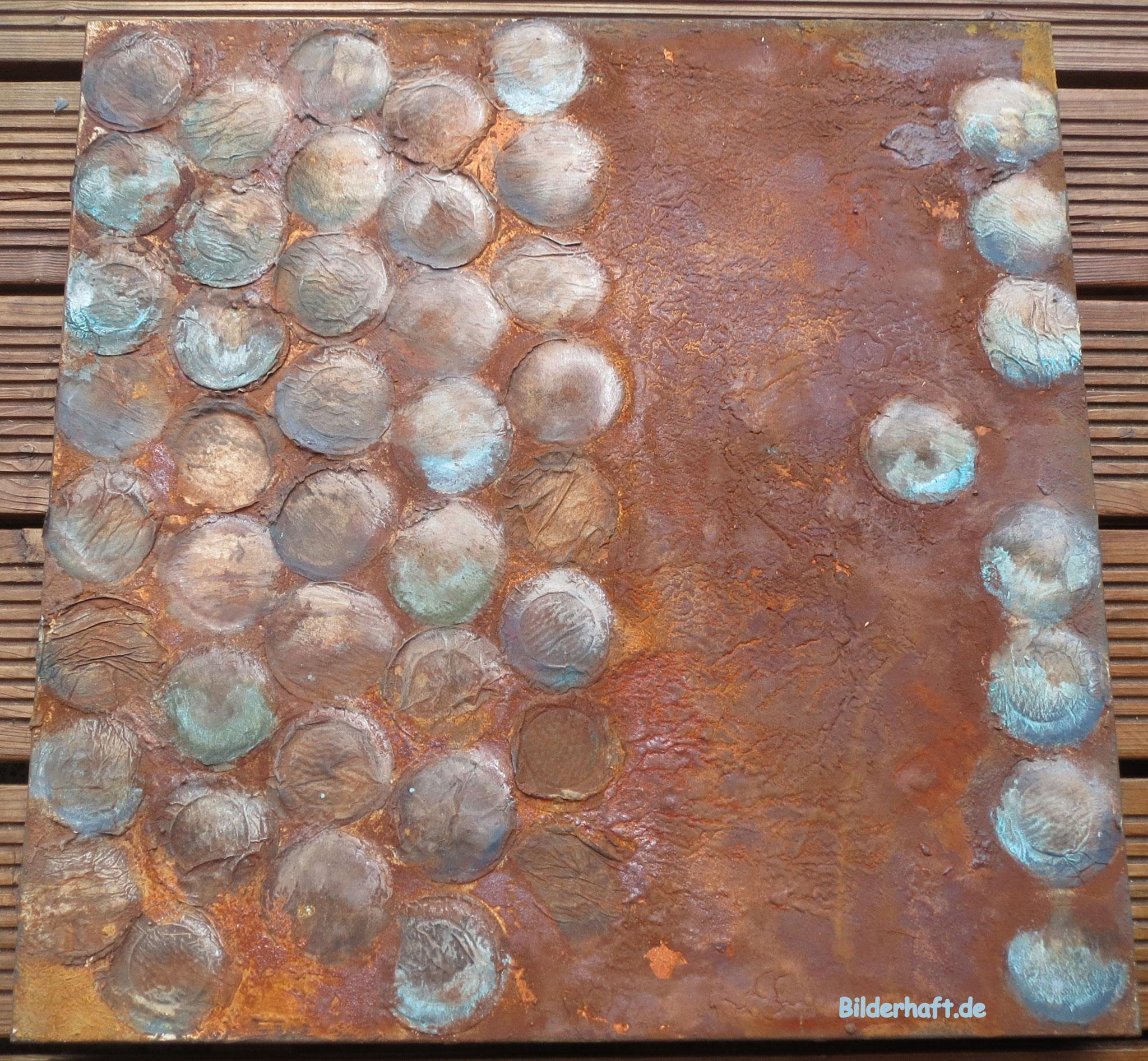 Rostige Rumkugeln, Mixed Media mit Rost, 60 x 60 x 4,5cm