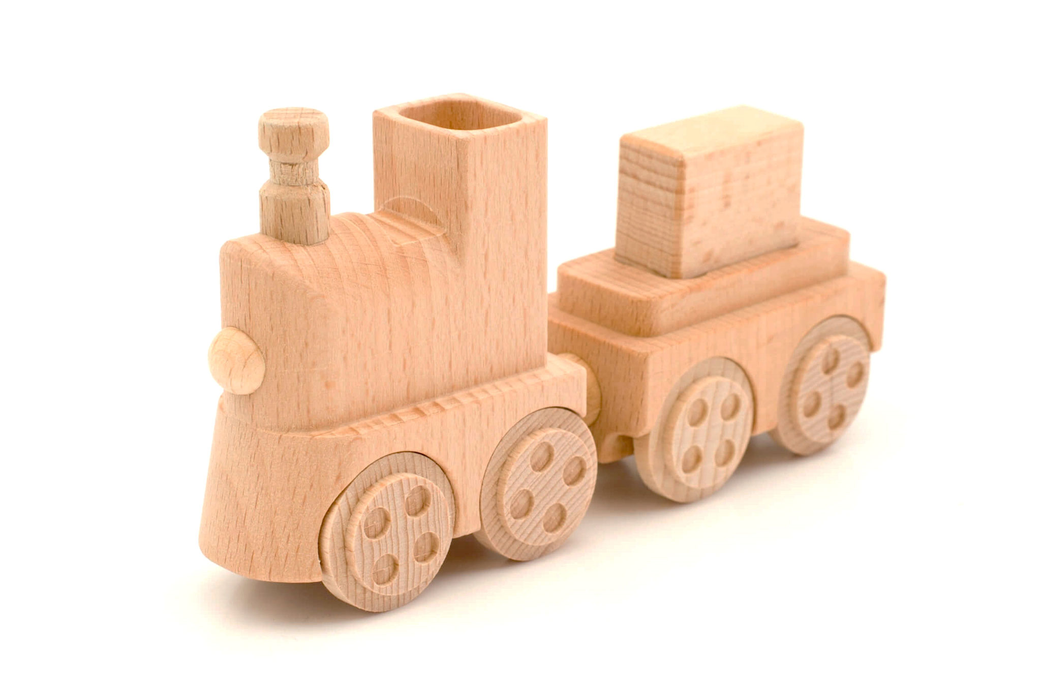 Holzeisenbahn mit Transportwagen