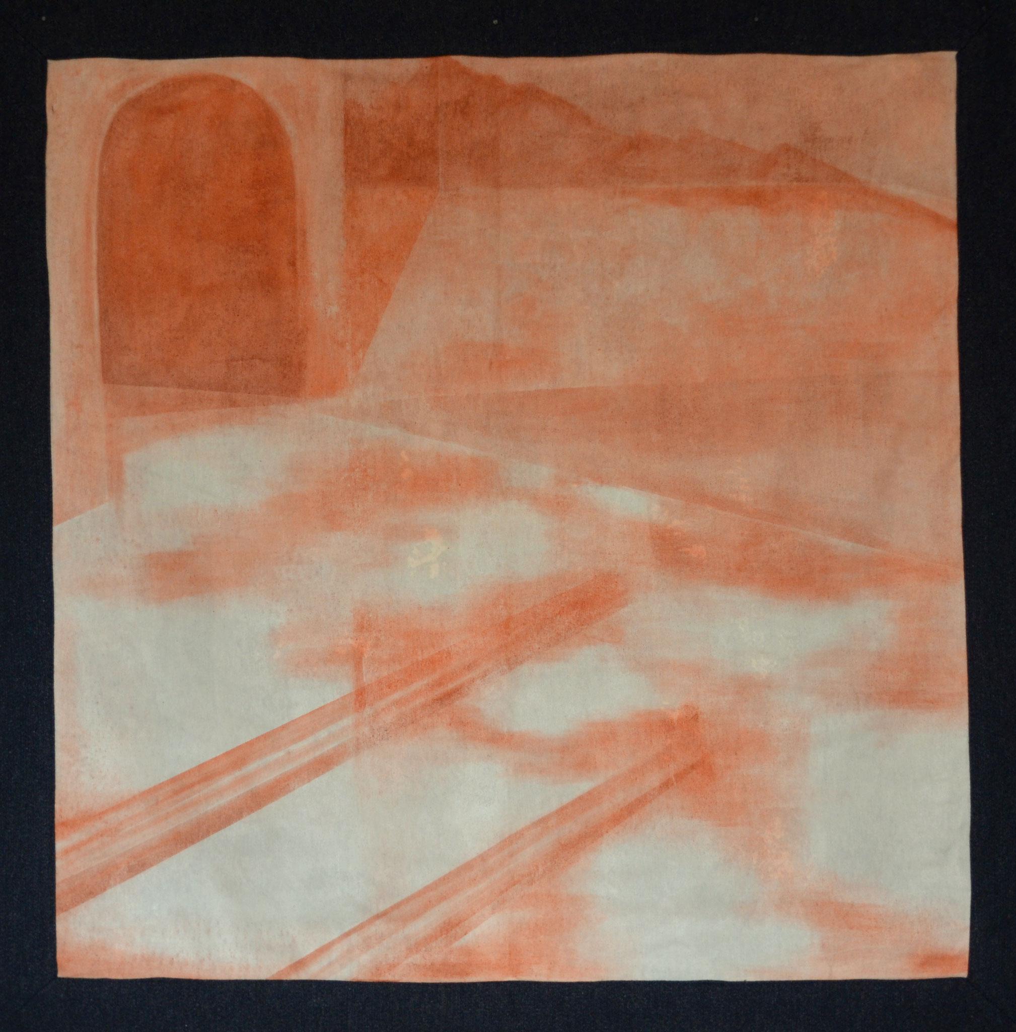 History I , 2016, Öl auf Leinwand und Wolle, 130 X 130 cm
