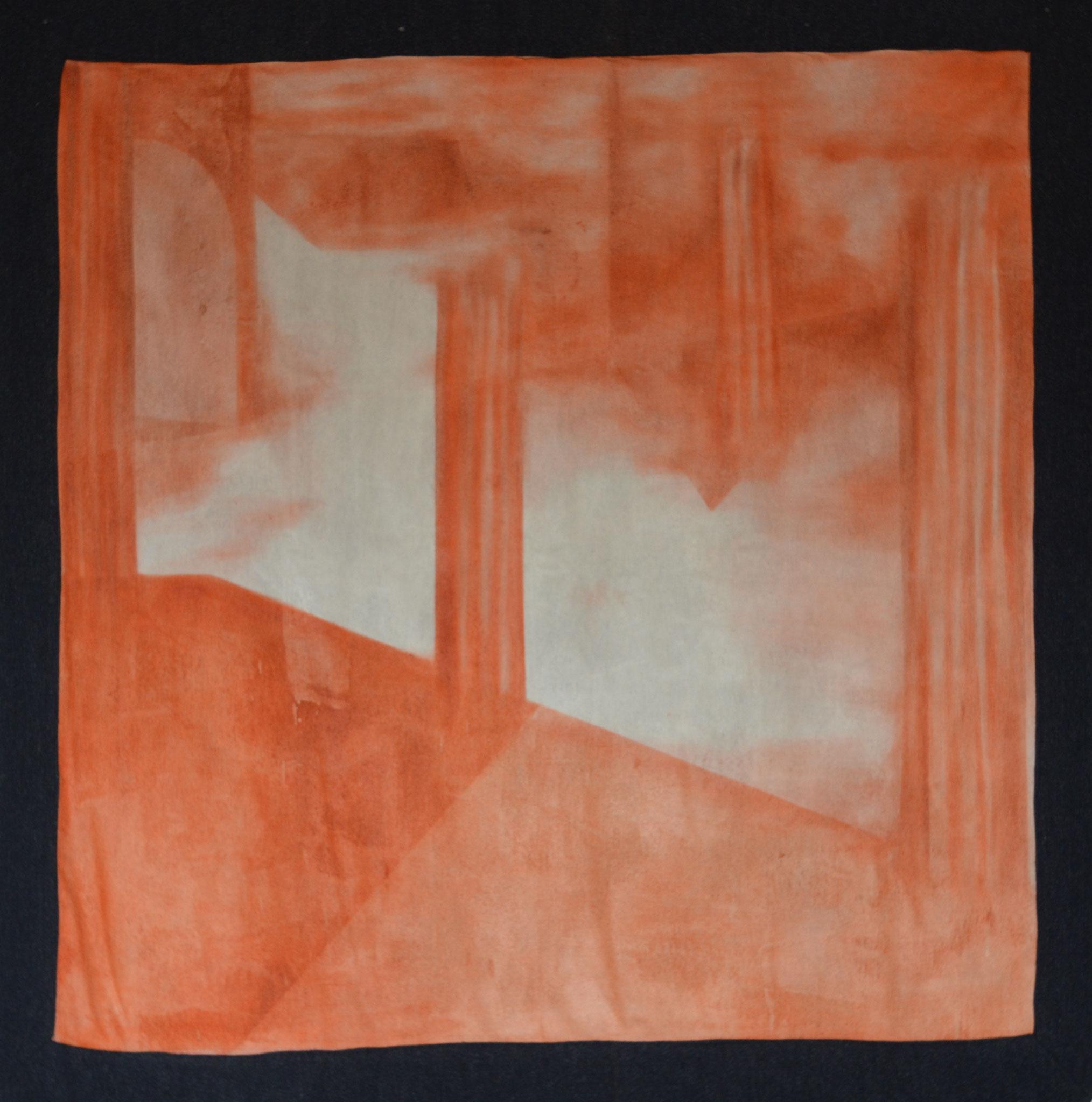 History II, 2016, Öl auf Leinwand und Wolle, 130 X 130 cm