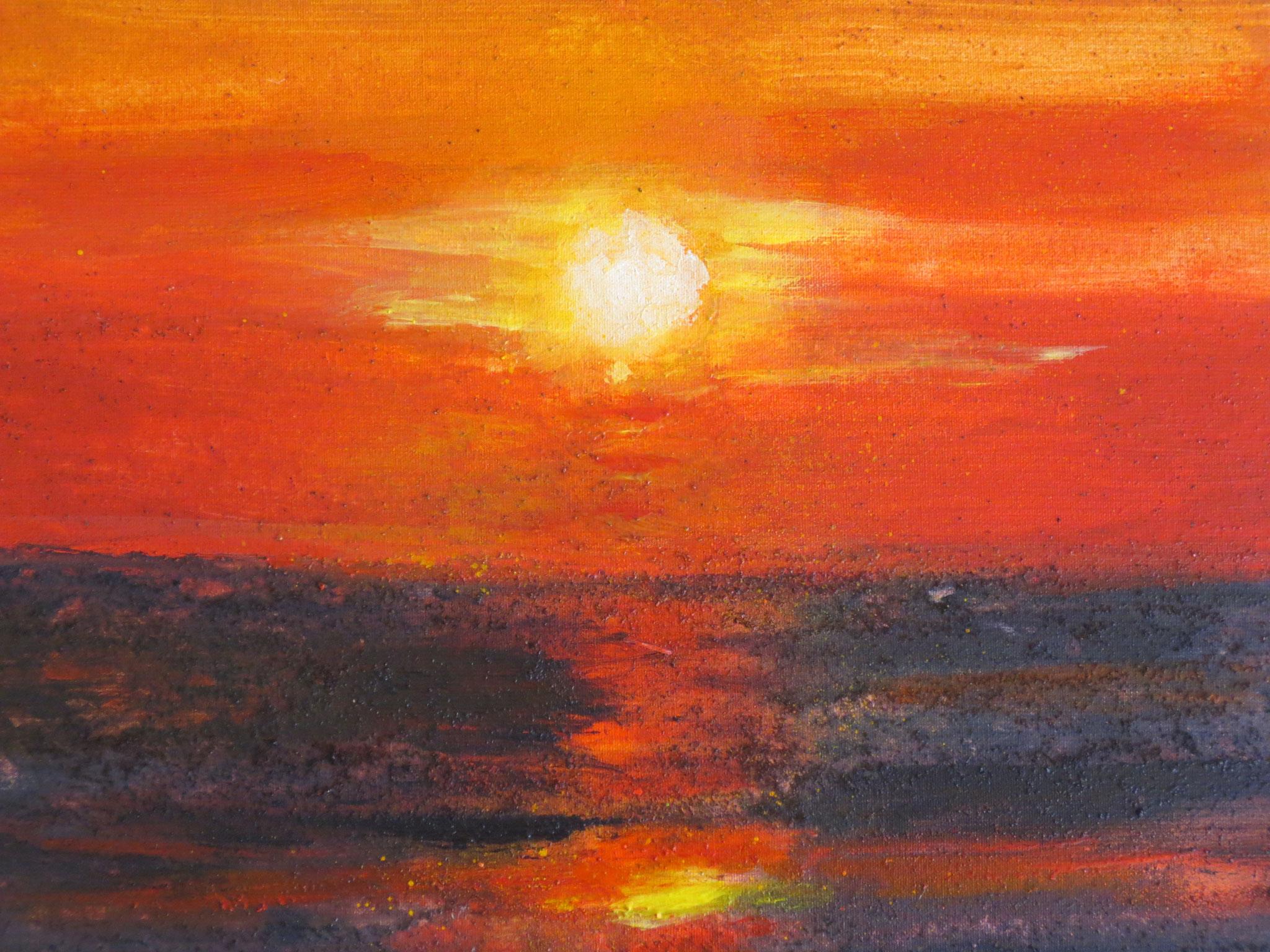 Die Sonne nimmt Abschied (30 x 30, Rotwein, Kaffee, Safran)