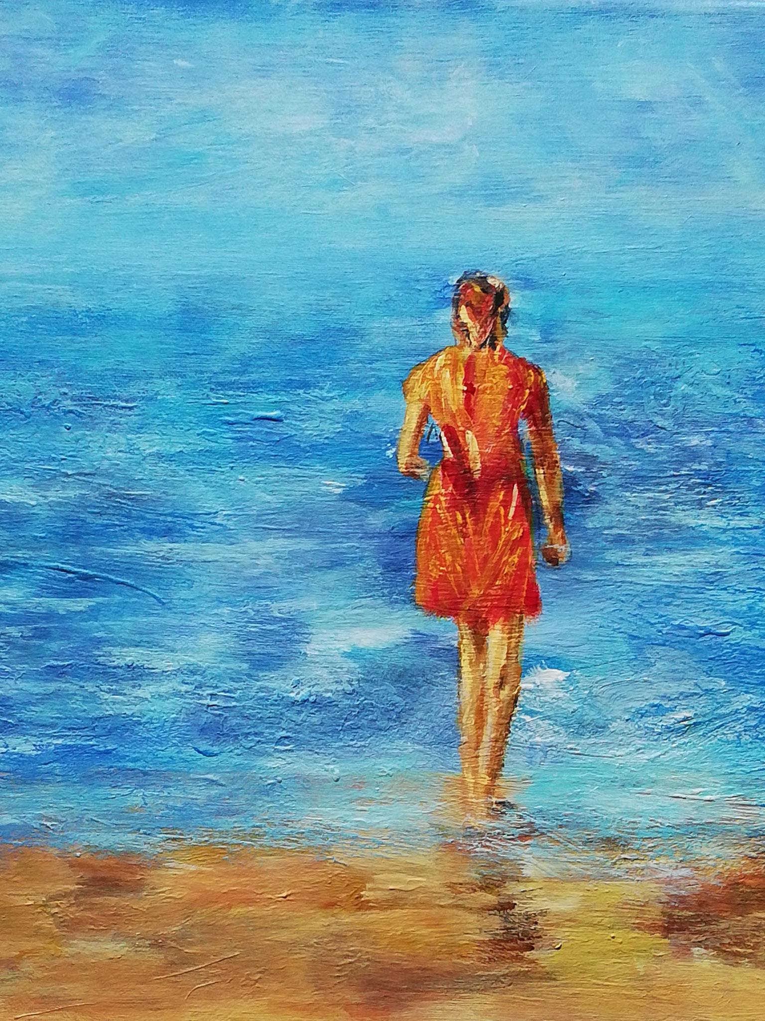 Die Schöne am Strand (50 x 50)