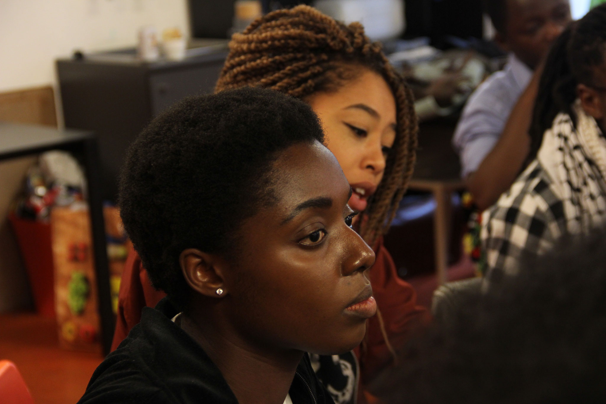 The members of Black Speaks Back preparing for their afrofuturistic movie. Photo by the author.