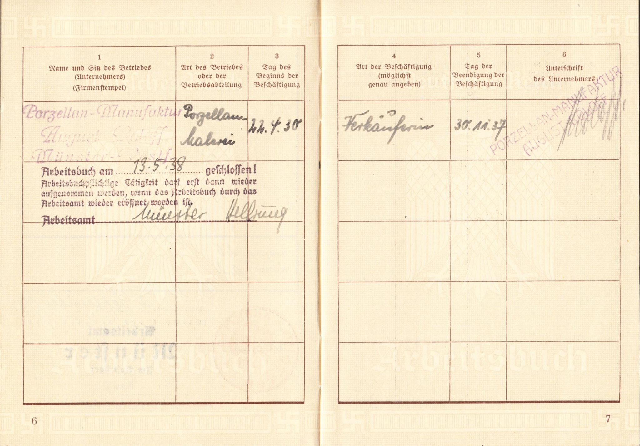 Arbeitsbuch von Hedwig Köhler, der Mutter von Herrn Irmer