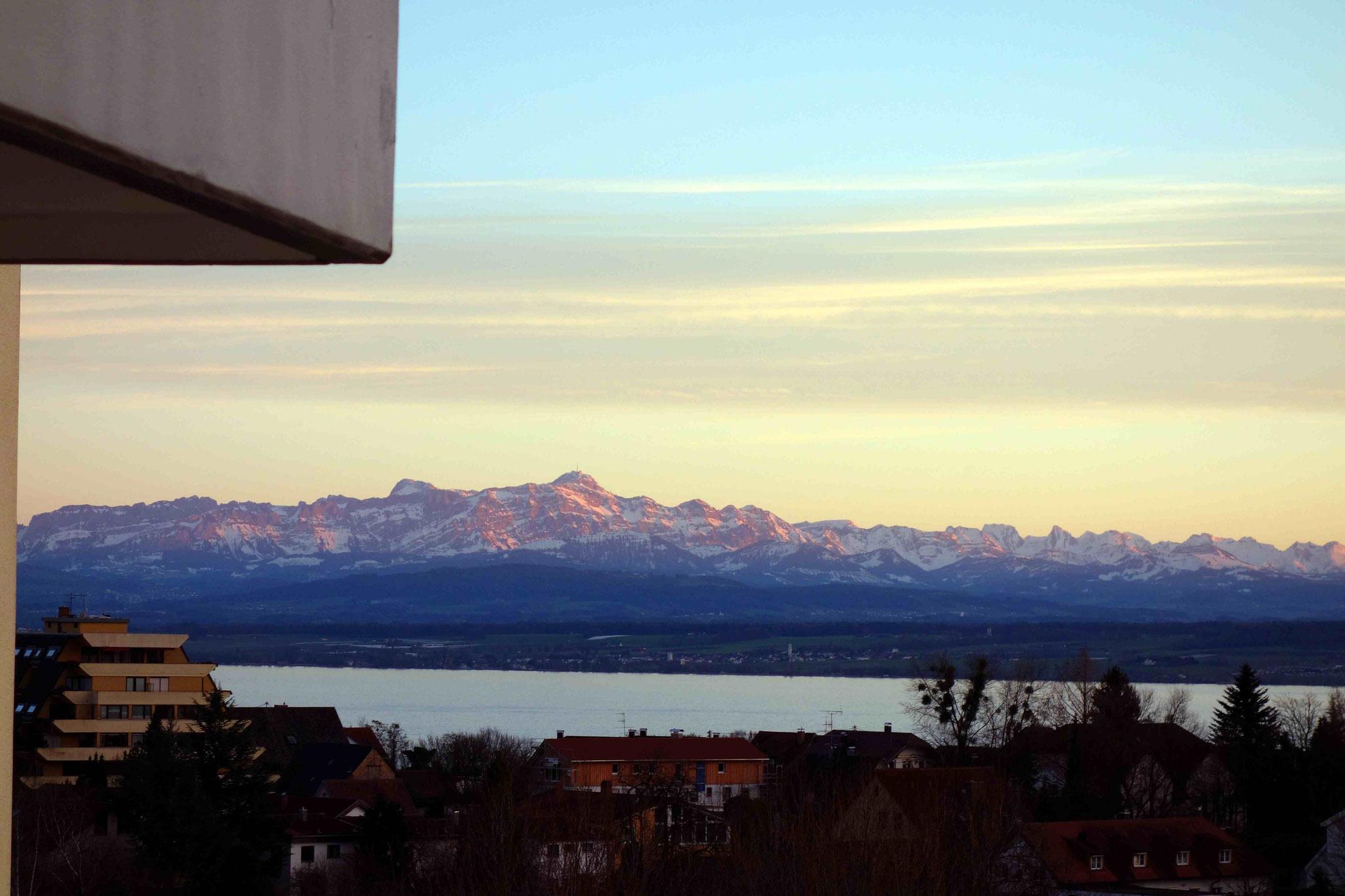 Blick auf den See und die Alpen