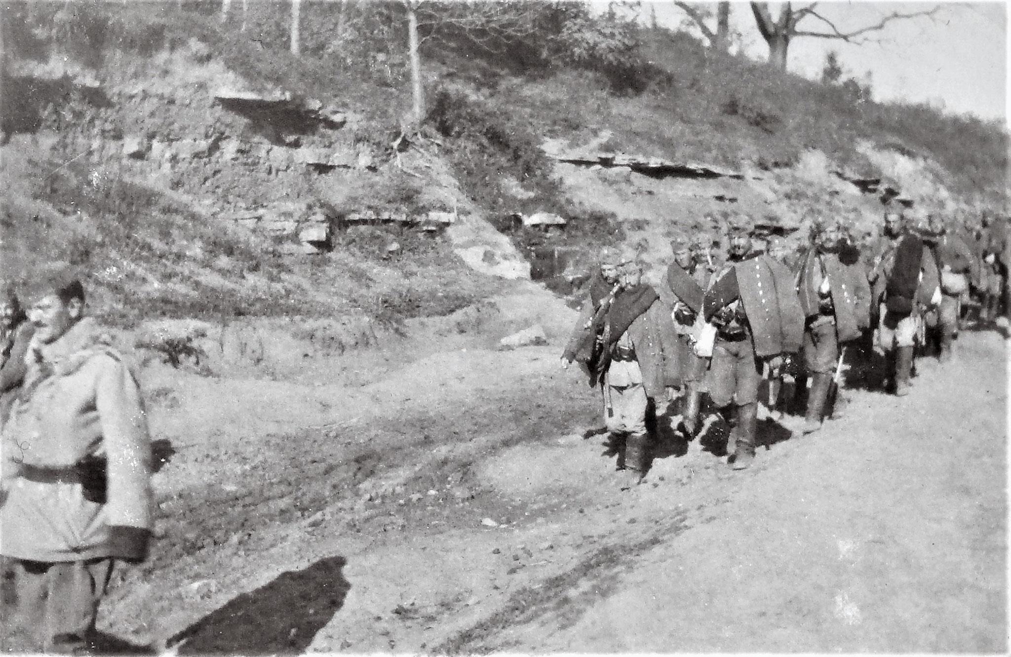 Die Fussabteilung der 3. Esk /D. 5 am Heimmarsch.