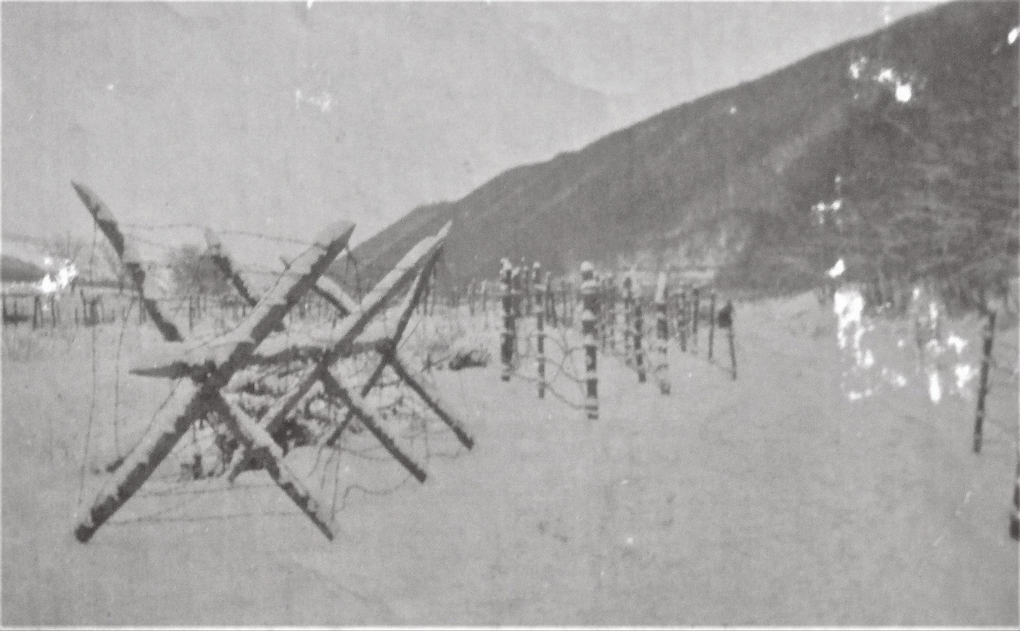 Drahthindernis vor dem linken Flügel des 3. Zuges.