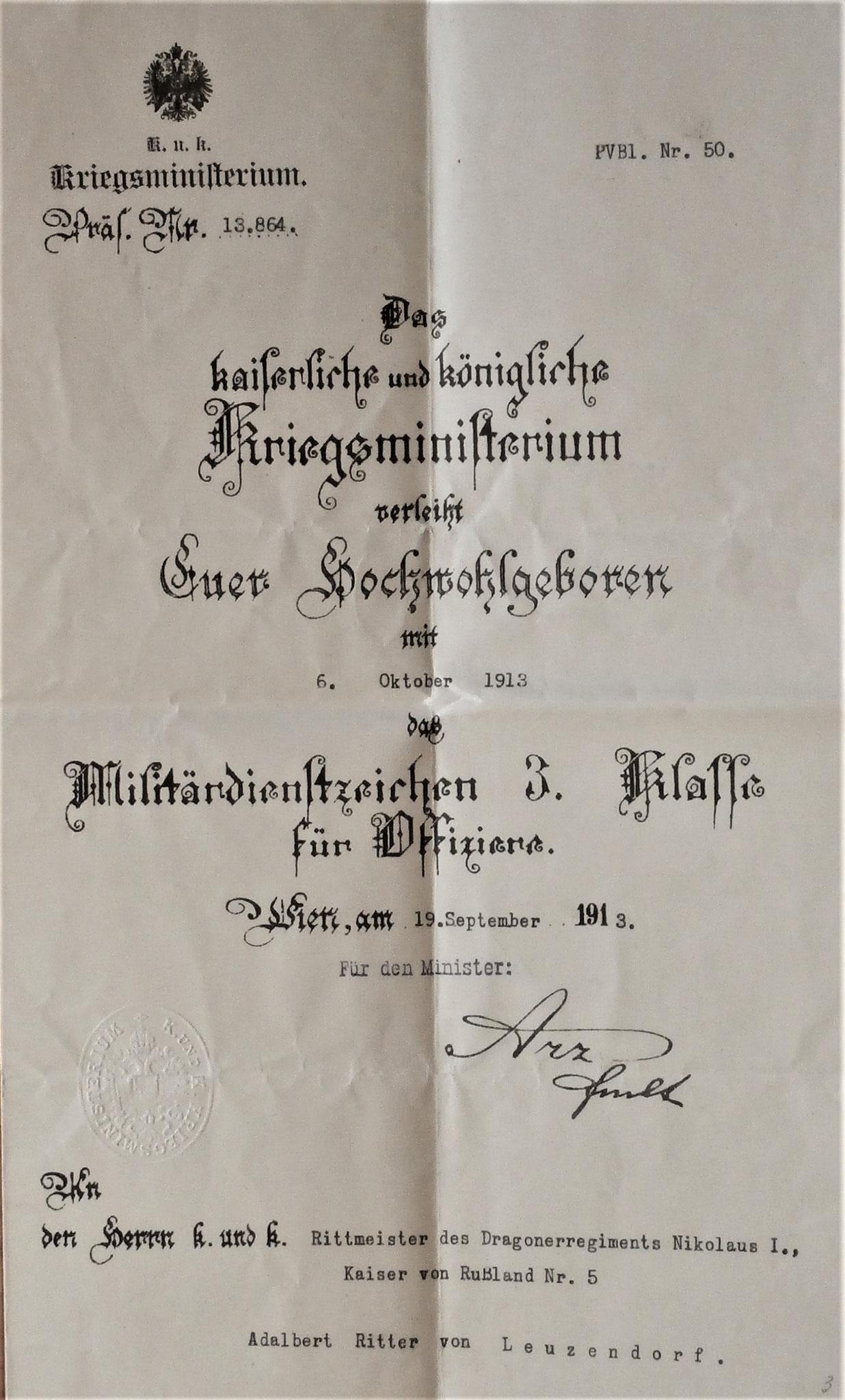 Militärdienstzeichen 1913