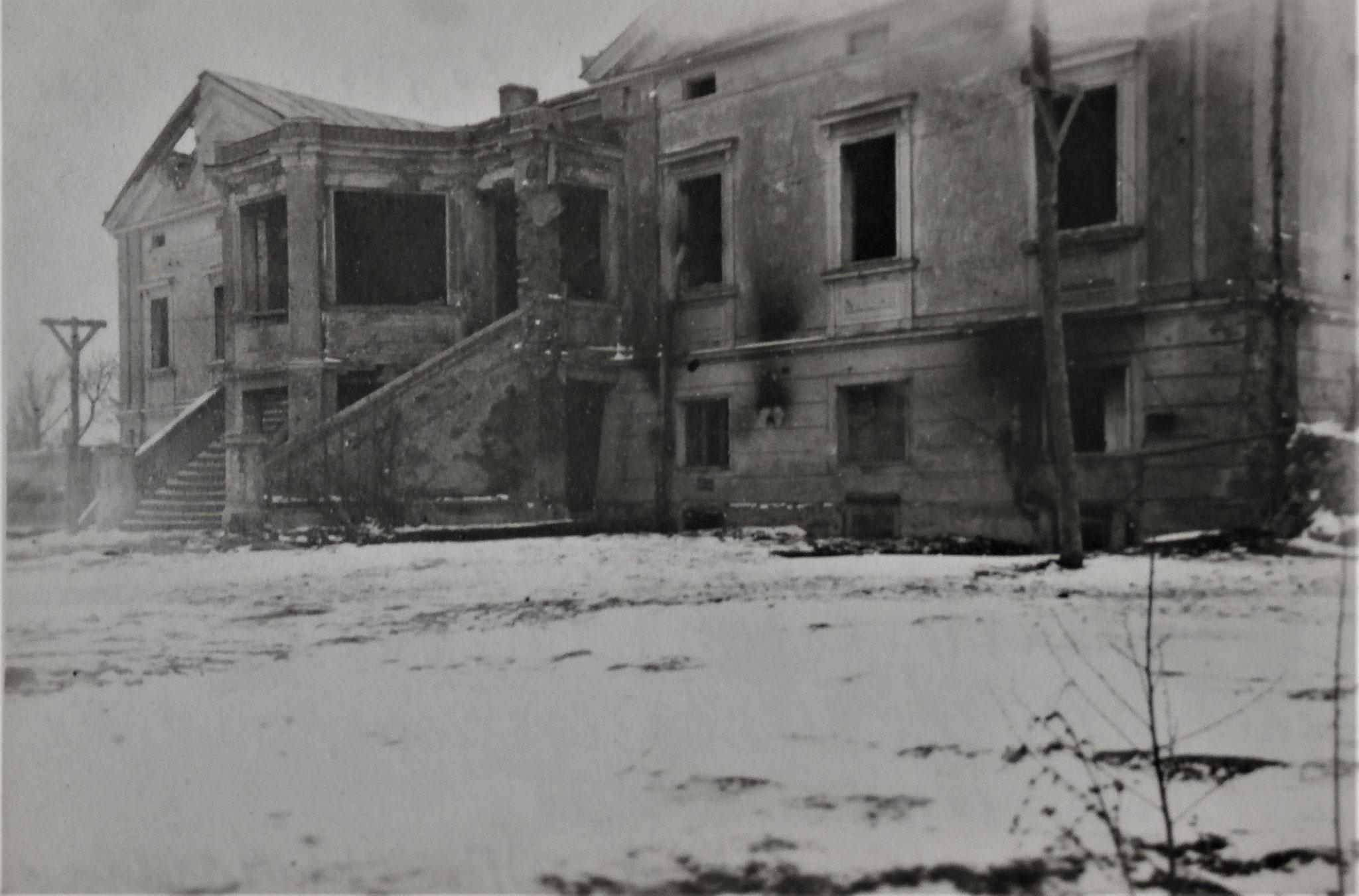 Herrenhaus Wysocko im Jänner 1918, Sitz des Kampftruppenkmdos D5.
