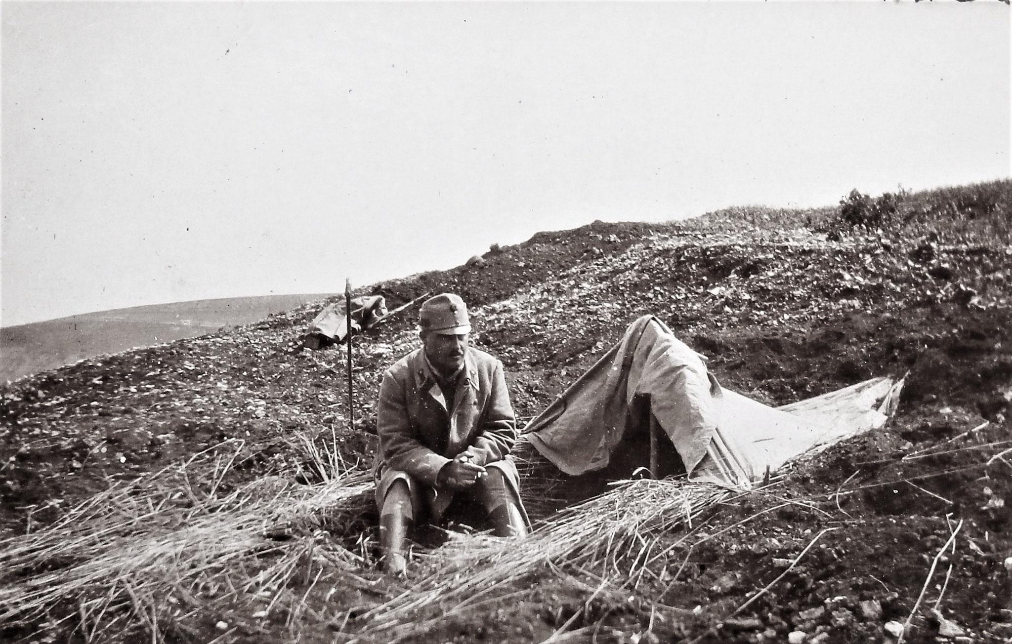 Offzstellv. Franz Werther (1. Esk), Kmdt des 2. Zugs der Fuß-Esk. DR. 5, Harasymow am Dnjestr, Ende Juni 1916.