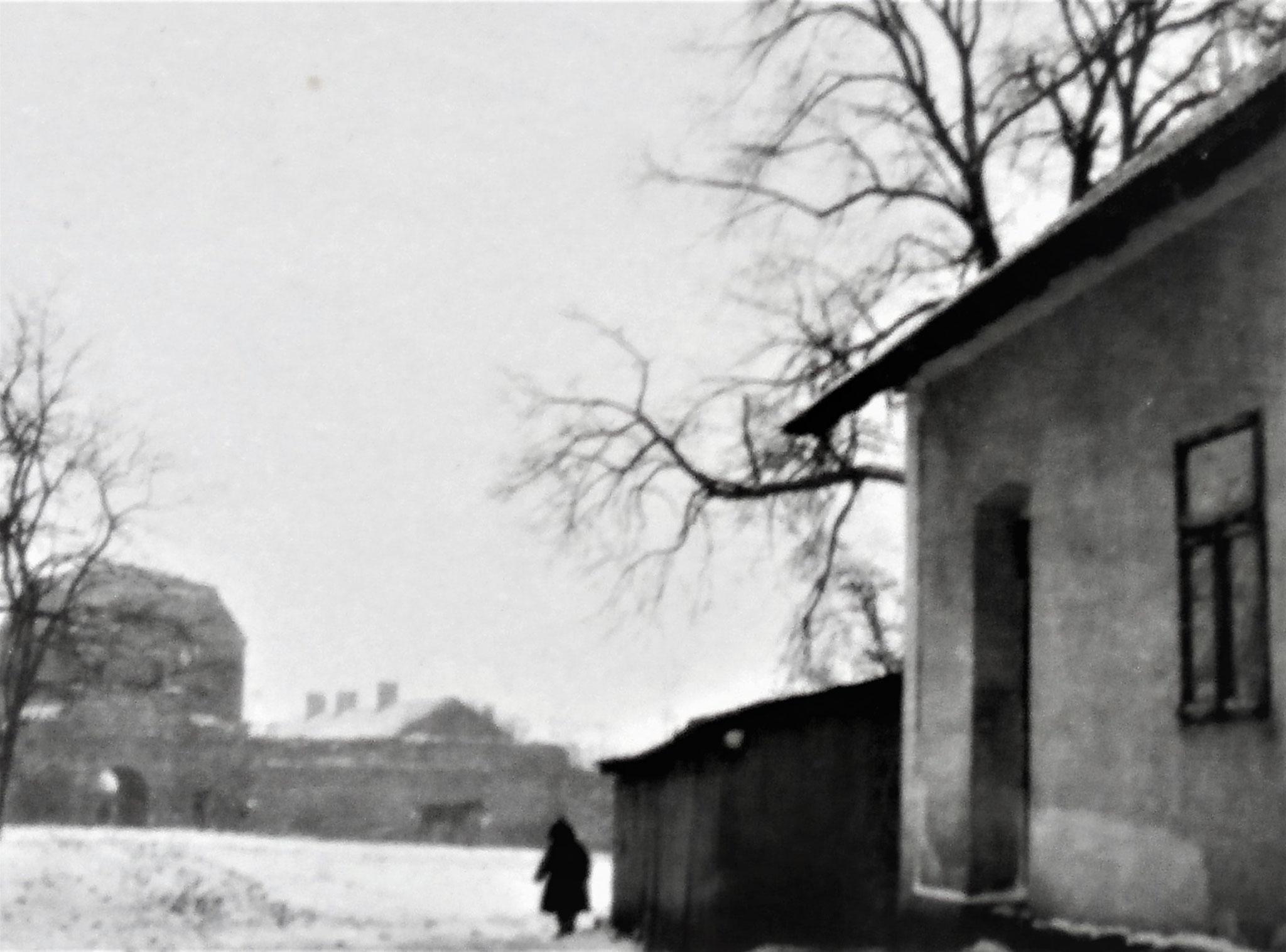 Czernelica Hauptplatz. Im Hintergrunde das Tor einer alten Potockischen Burg.