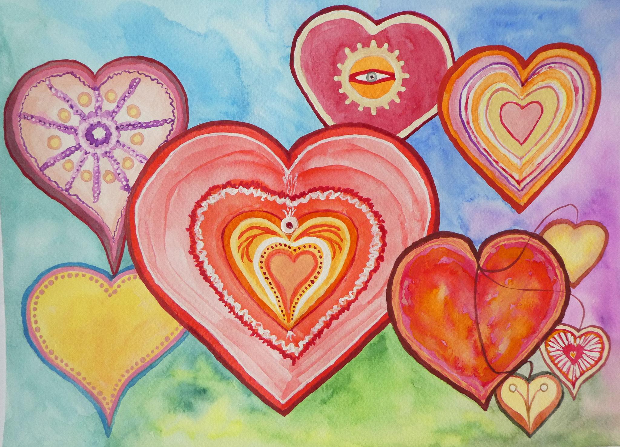 Herzen die ich liebe - Aquarell - ca. 26 x 35 cm