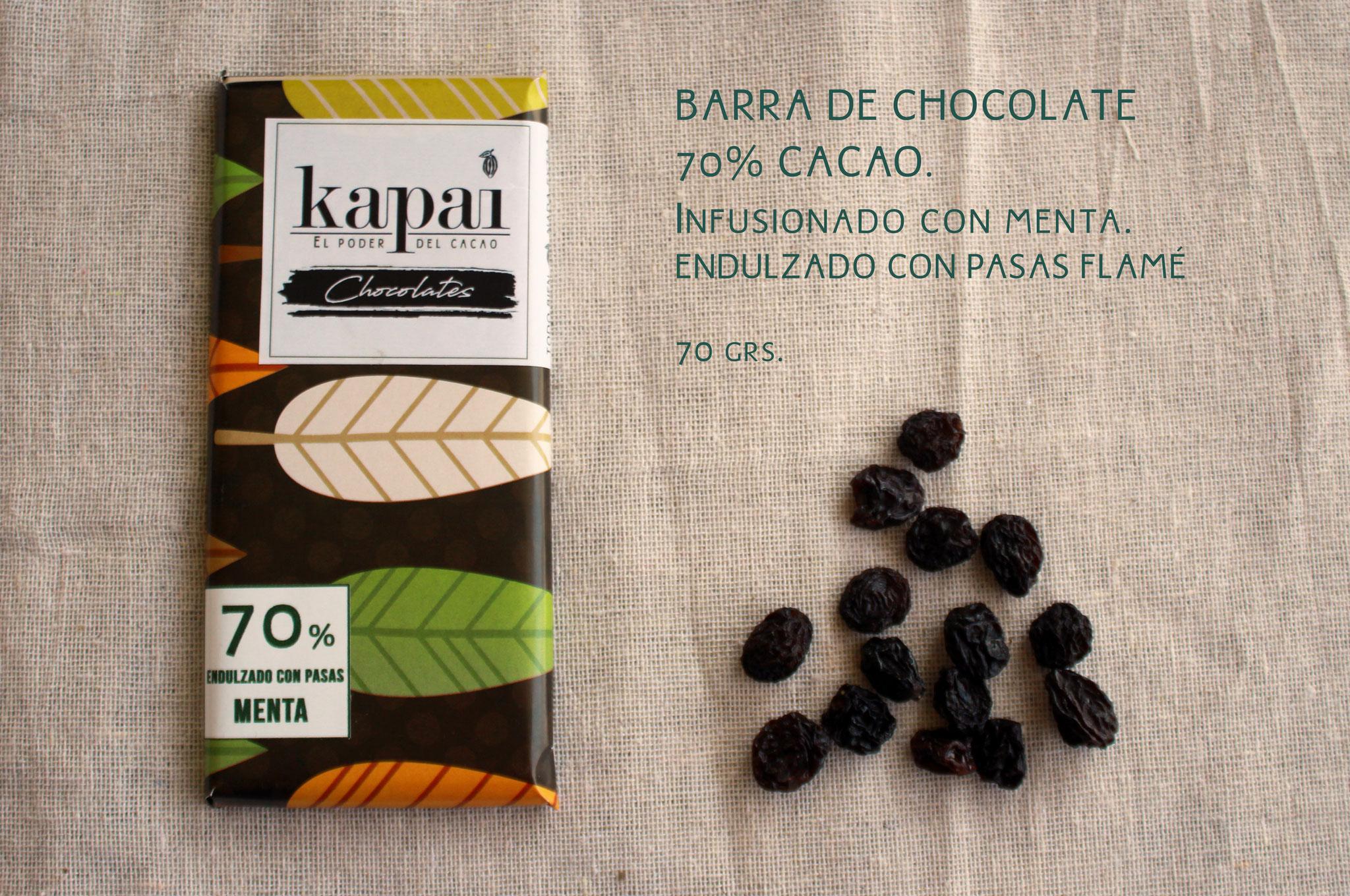 70% Cacao, Menta y Pasas Flamé