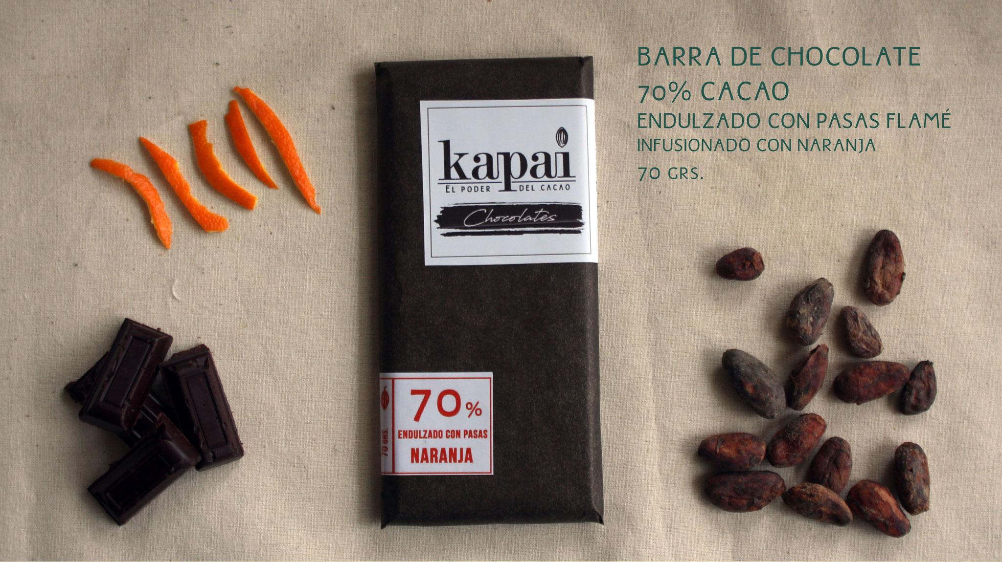 70% Cacao, Pasas Flamé y Naranja