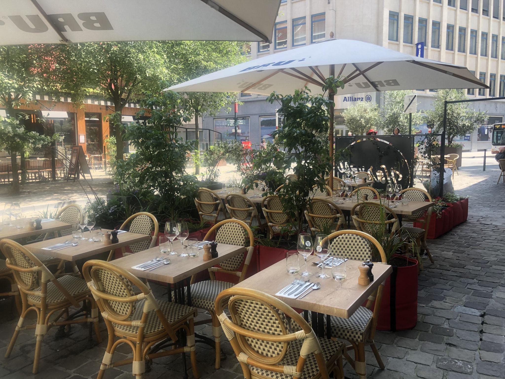 """Terrasse de 50m2 - Ambiance """"Sous-Bois"""" - La terrasse avec vue sur la clôture d'entrée. Aménagement jardin Bruxelles"""