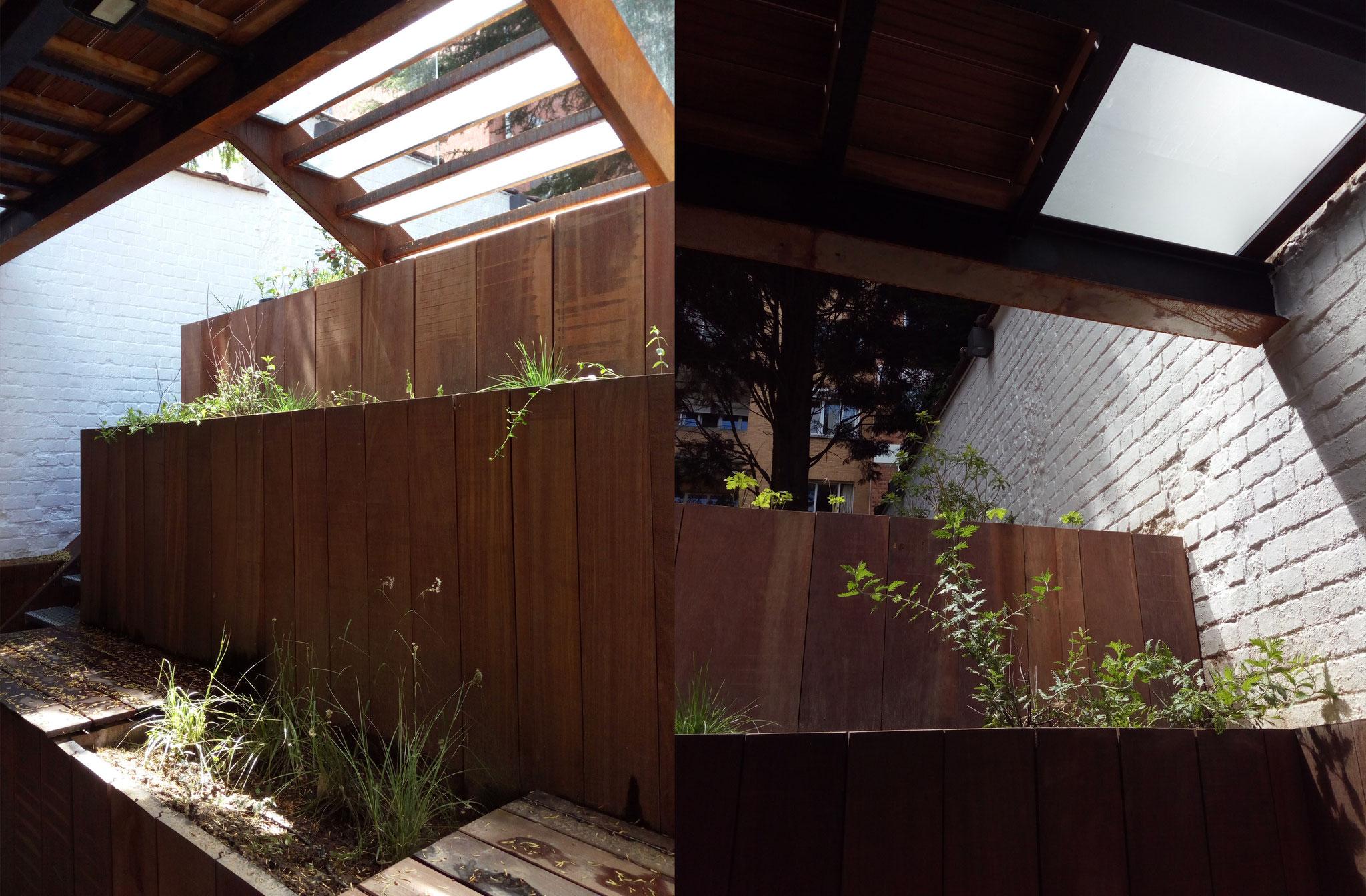 Cour sur 4 niveaux - Sous-sol / +1an  - Bois, Corten & verre - Amenagement jardin Bruxelles