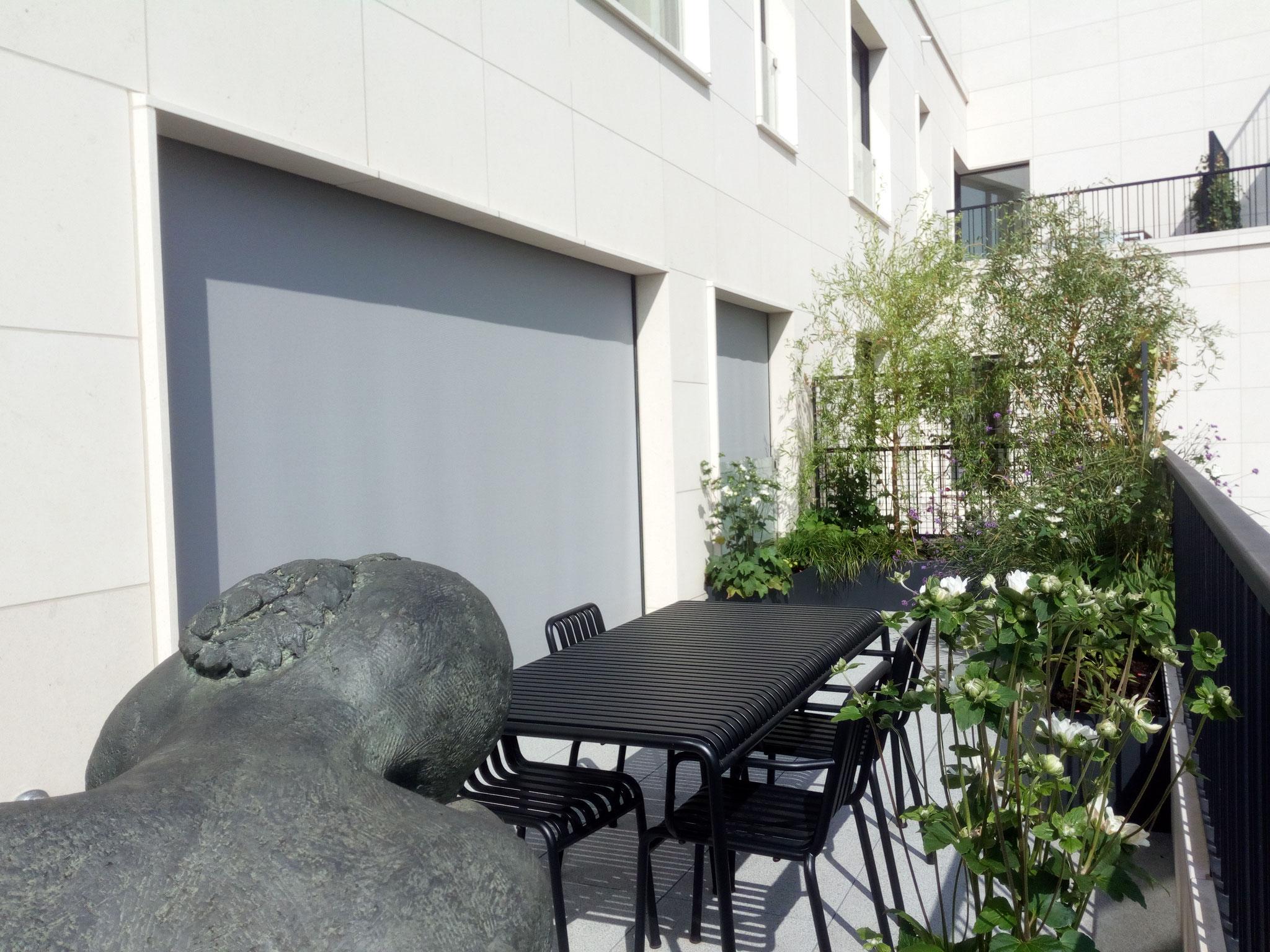 Terrasse de 25m2 - Jardin naturalliste - Vue complète de la terrasse. Aménagement jardin Bruxelles