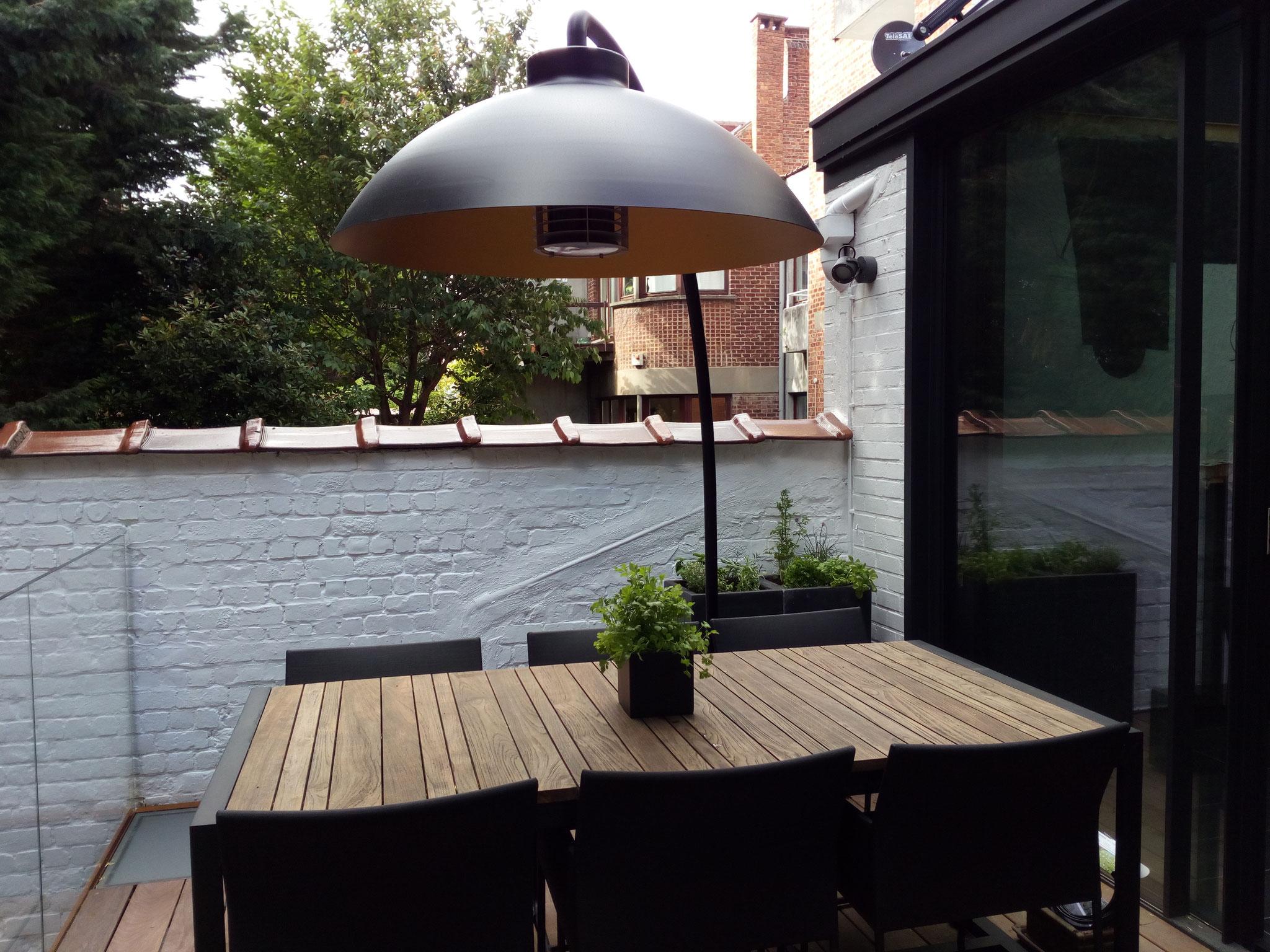 Cour sur 4 niveaux - Niveau haut / +1an / Plain pied avec la salle à manger - Amenagement jardin Bruxelles