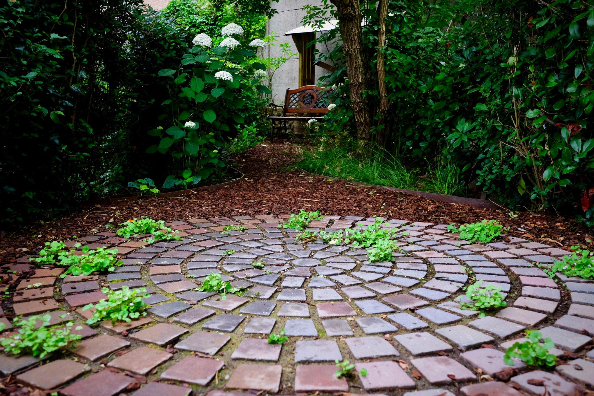 Jardin de ville 120m2 - Agroforesterie urbaine - A ras de la terrasse arrière. Aménagement jardin Bruxelles.