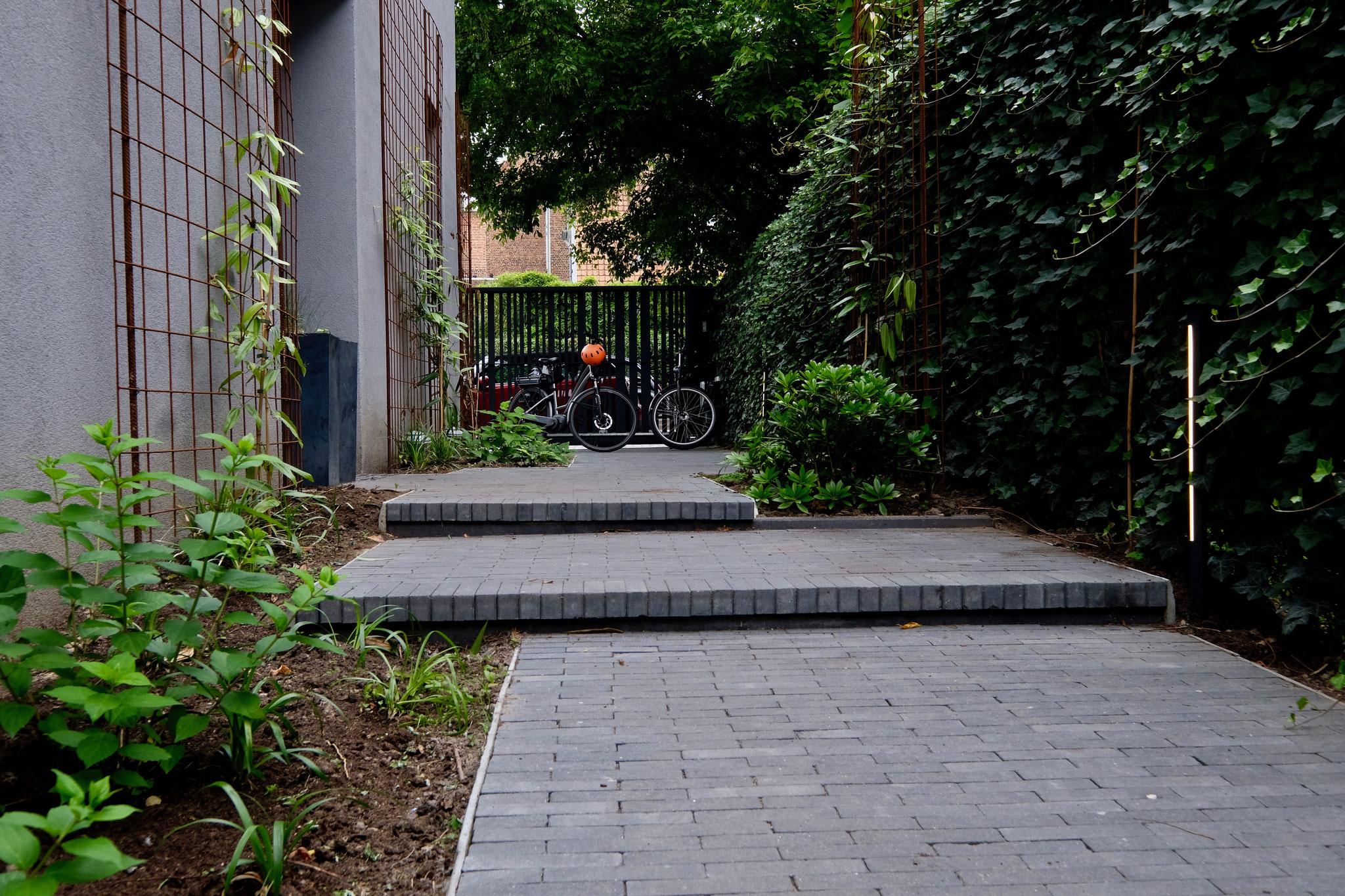 Jardin de ville 150m2 - Jardin contemporain - allée vers l'entrée. Aménagement jardin Bruxelles