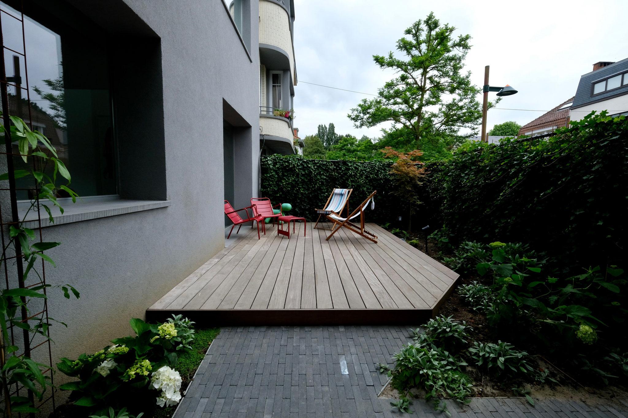 Jardin de ville 150m2 - Jardin contemporain - Jardin avant. Aménagement jardin Bruxelles