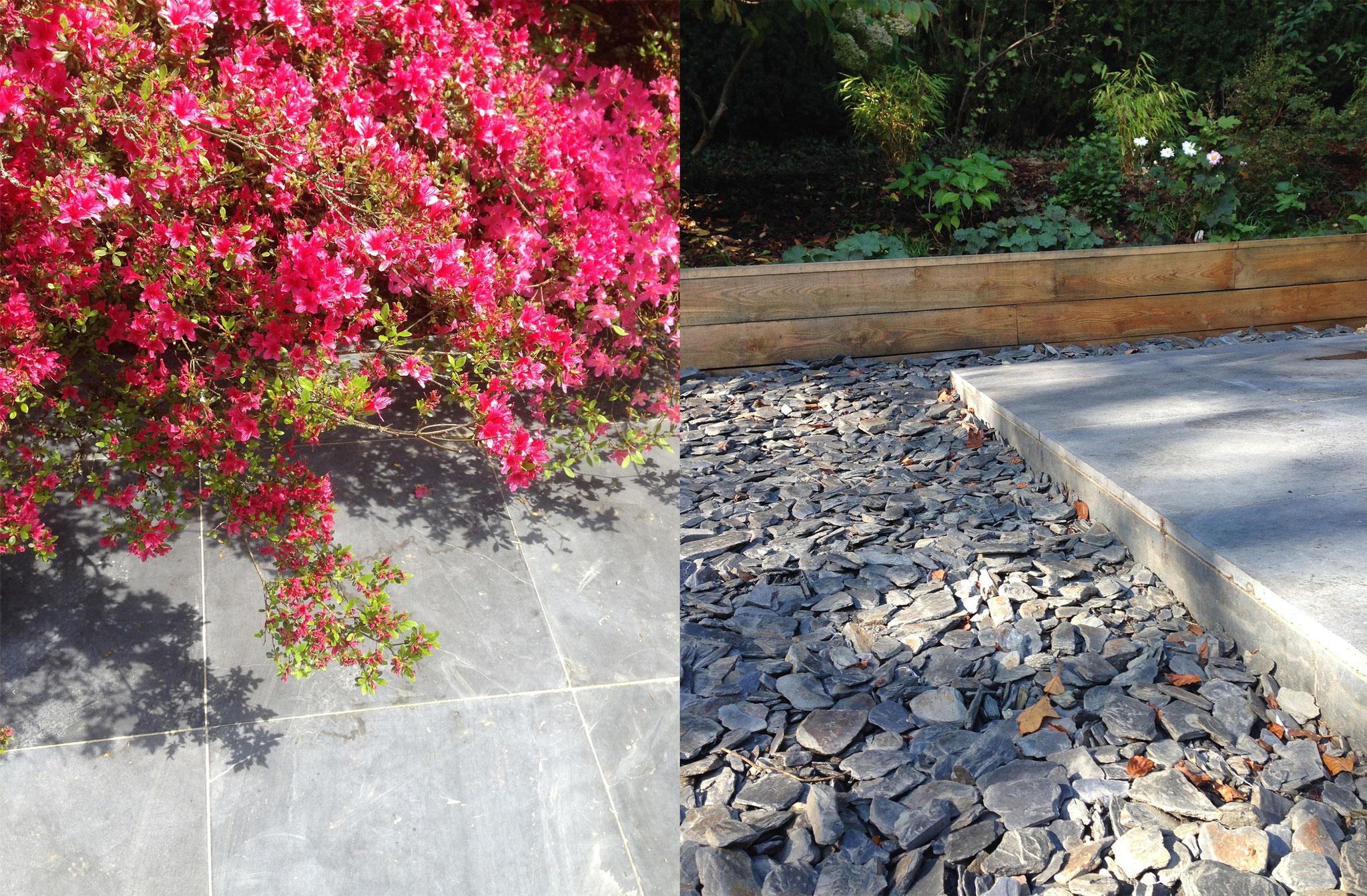 Jardin de 400m2 - Style contemporain - Détail des matériaux - Pierre bleue/ schiste/ Bois. Amenagement jardin Bruxelles