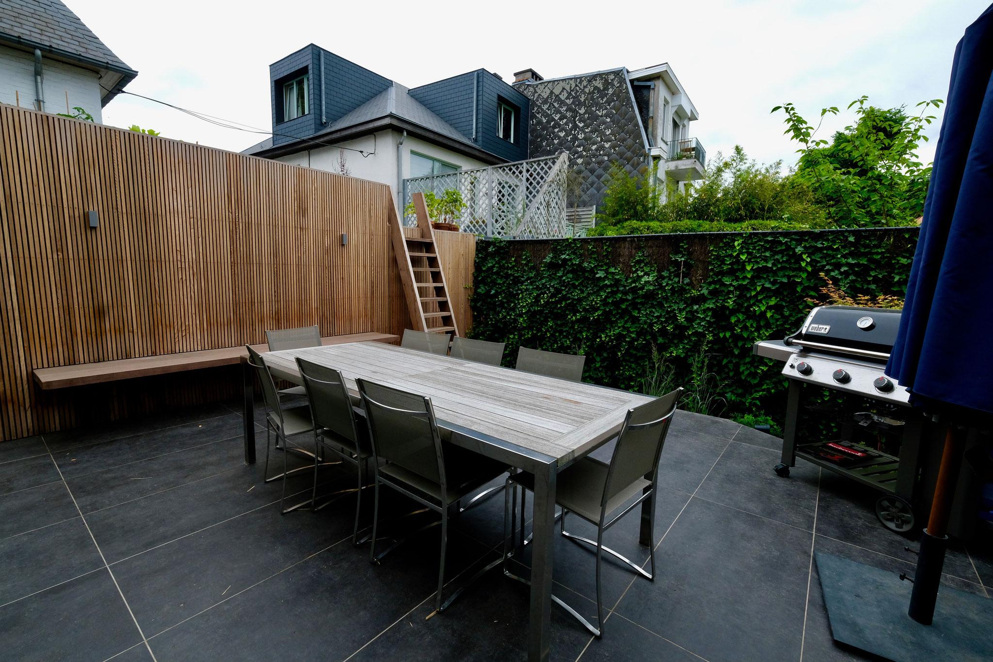 Jardin de ville 150m2 - Jardin contemporain - Jardin arrière. Aménagement jardin Bruxelles