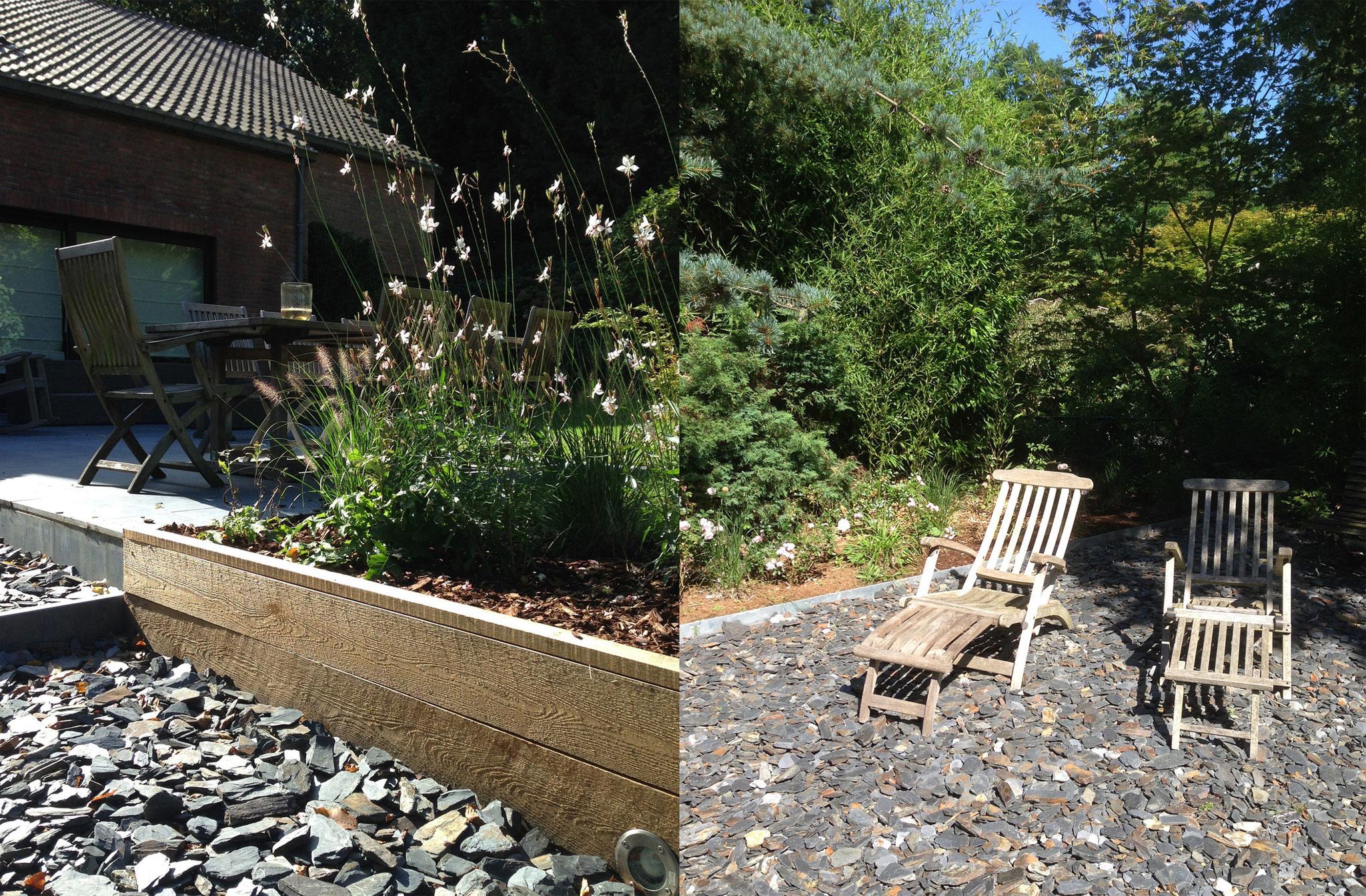 Jardin de 400m2 - Style contemporain - Détail des matériaux - Schiste/ Bois. Amenagement jardin Bruxelles
