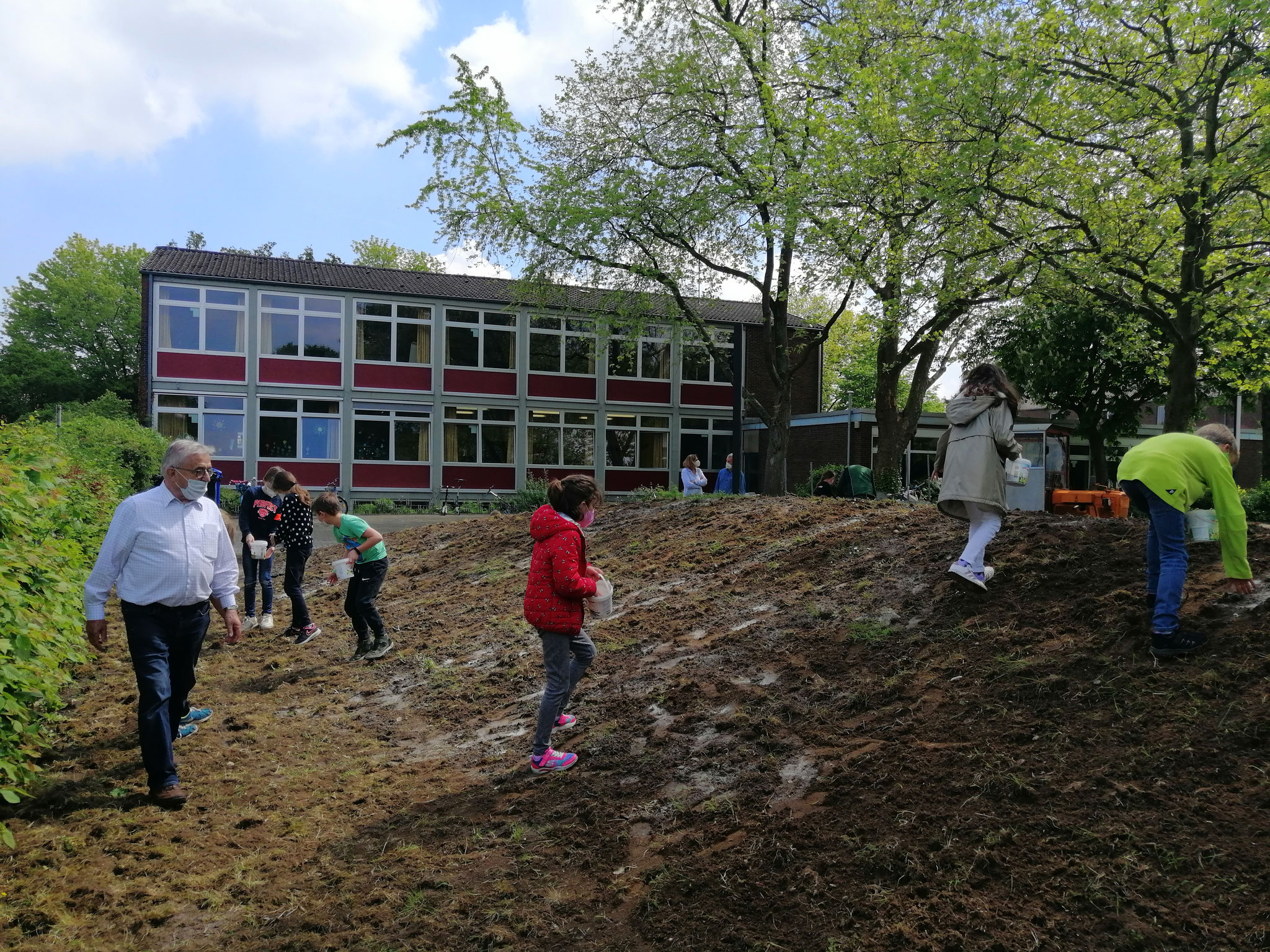 ... dann haben Kinder der 3d Blumensaat auf dem Hügel verteilt...