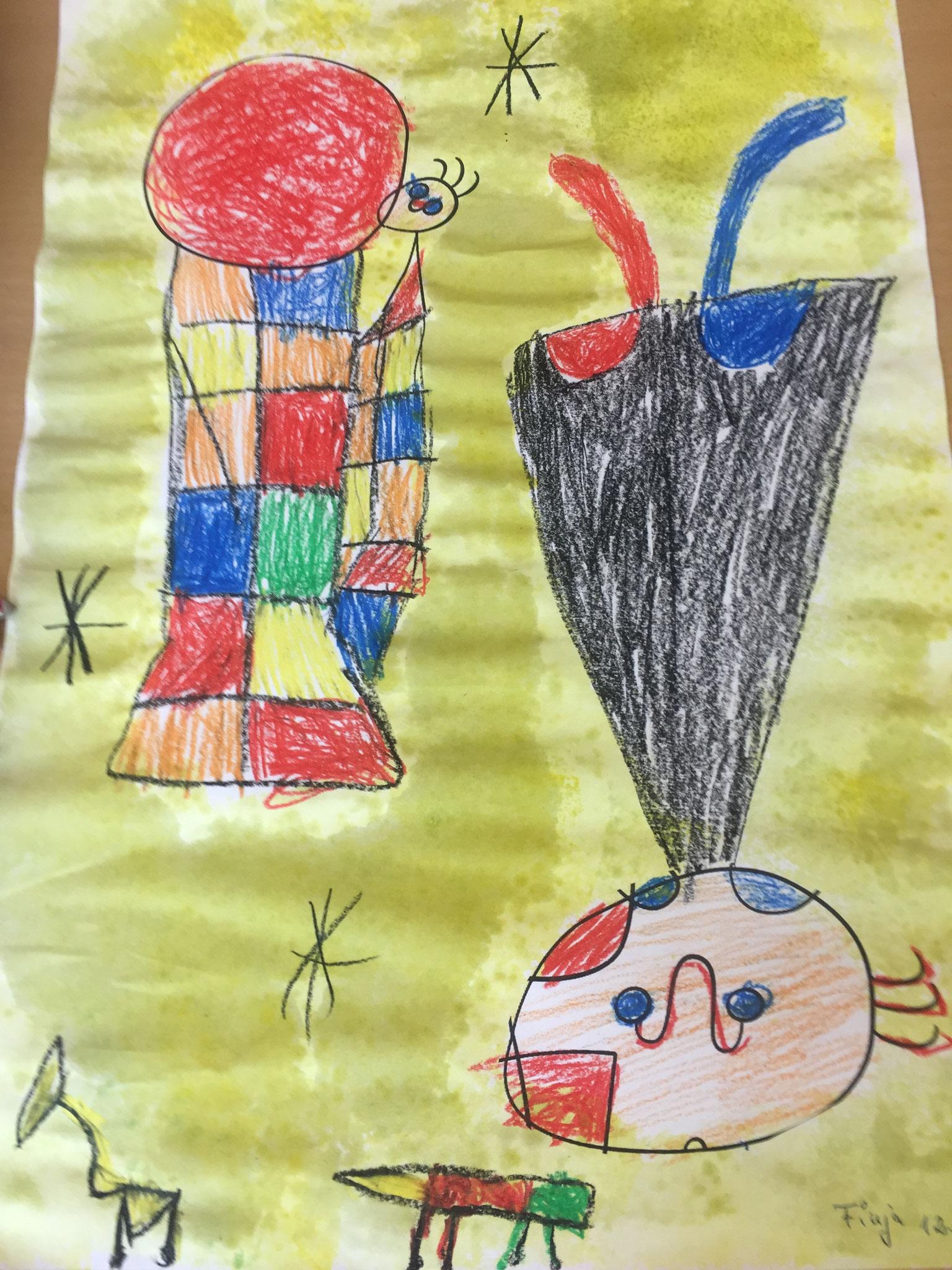 Kinder haben das Bild von Miró aus ihrer Vorstellung nachgeahmt,