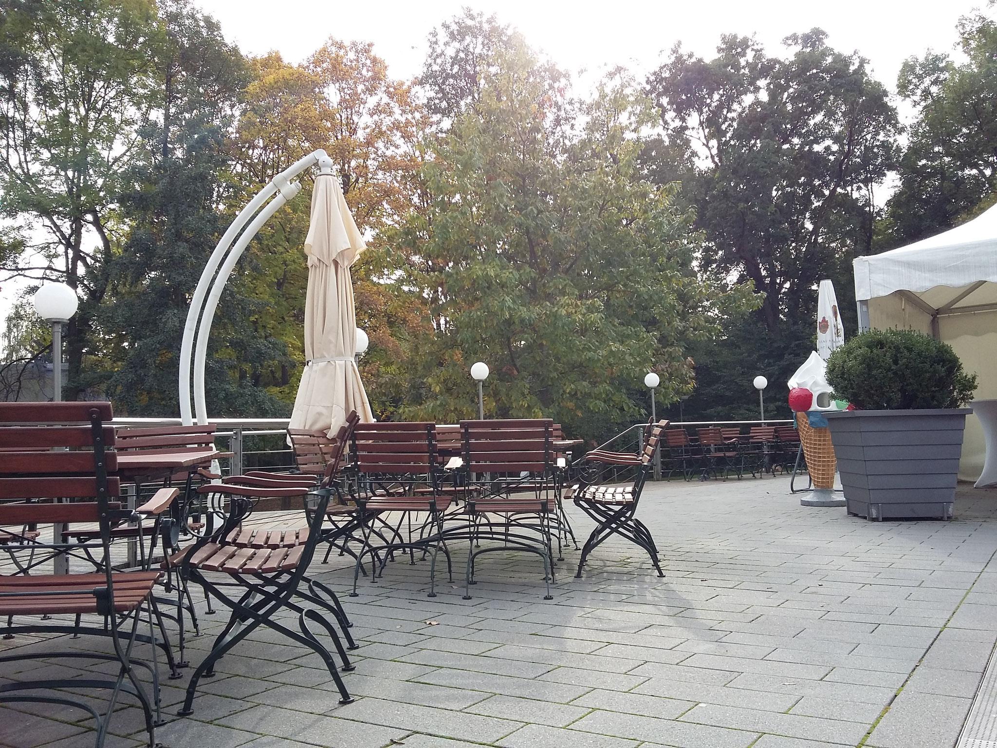 Terrasse mit Blick auf den Tierpark