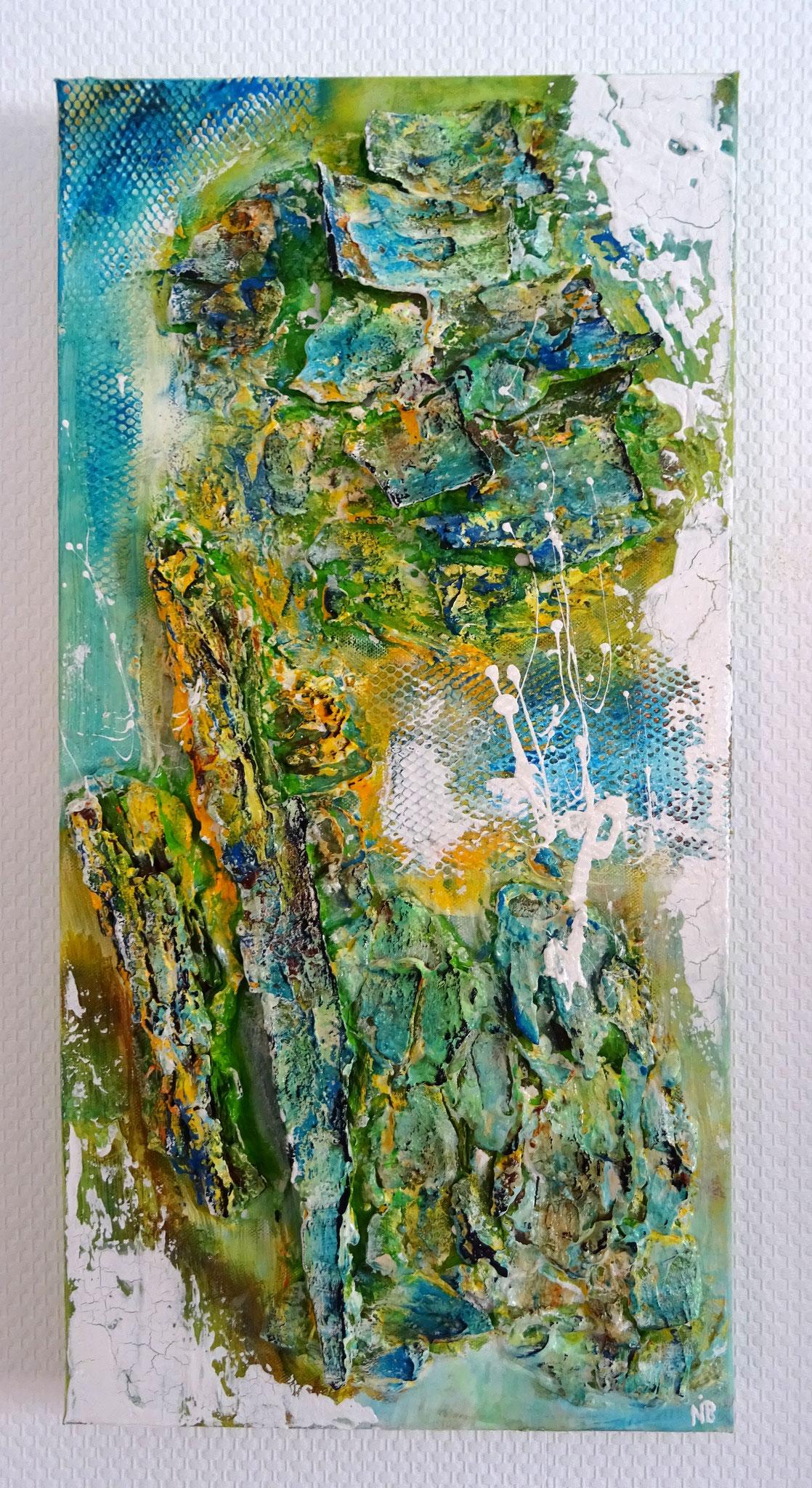 """Schneeschmelze (30x60x4) - aus der Kunst-Reihe """"Back to nature"""" - Applikationen aus  Rinde und Borke"""