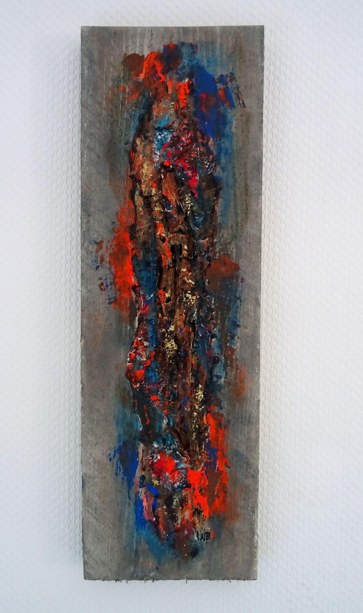 """Glut (19x60x3) - aus der Kunst-Reihe """"Back to nature"""" - Applikation auf Holz"""