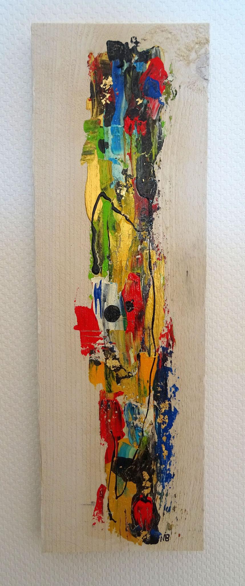 """Twin II (19x60x3) - aus der Kunst-Reihe """"Back to nature"""" - Applikation auf Holz"""