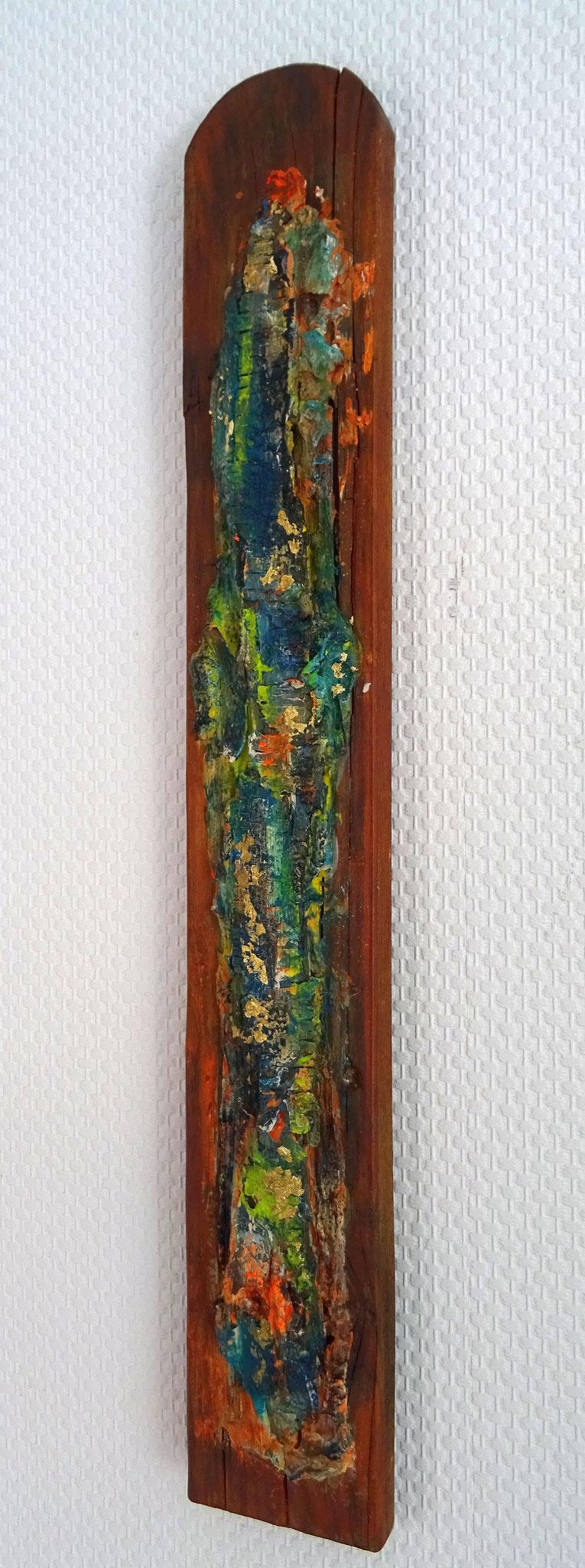 """Grenzposten (8,5x60x2) - aus der Kunst-Reihe """"Back to nature"""" - Applikation auf Holz mir RInde und Borke"""