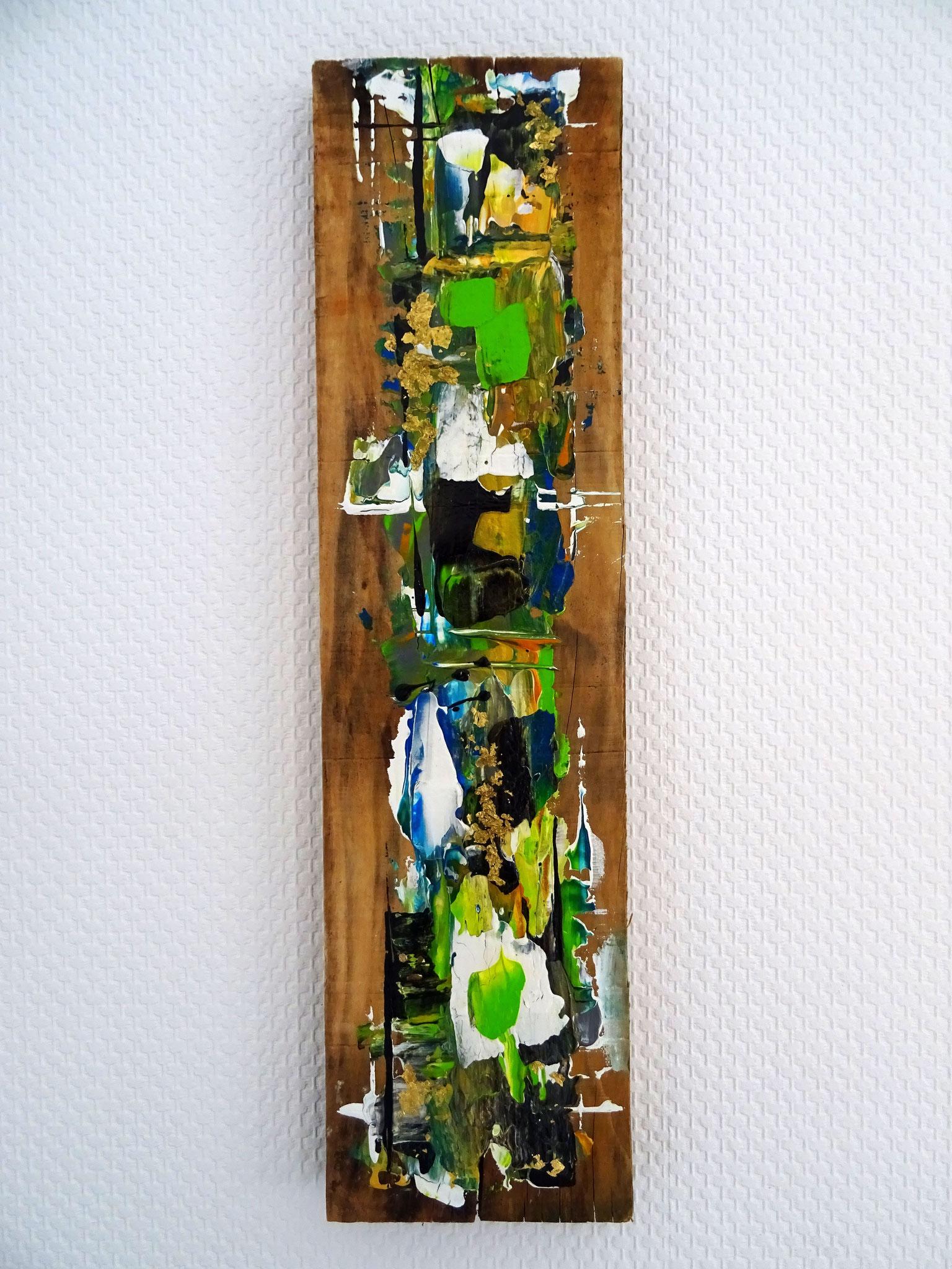 "Moos (47,5x12,5x2,5) - aus der Kunst-Reihe ""Back to nature"" - Applikation auf Holz"