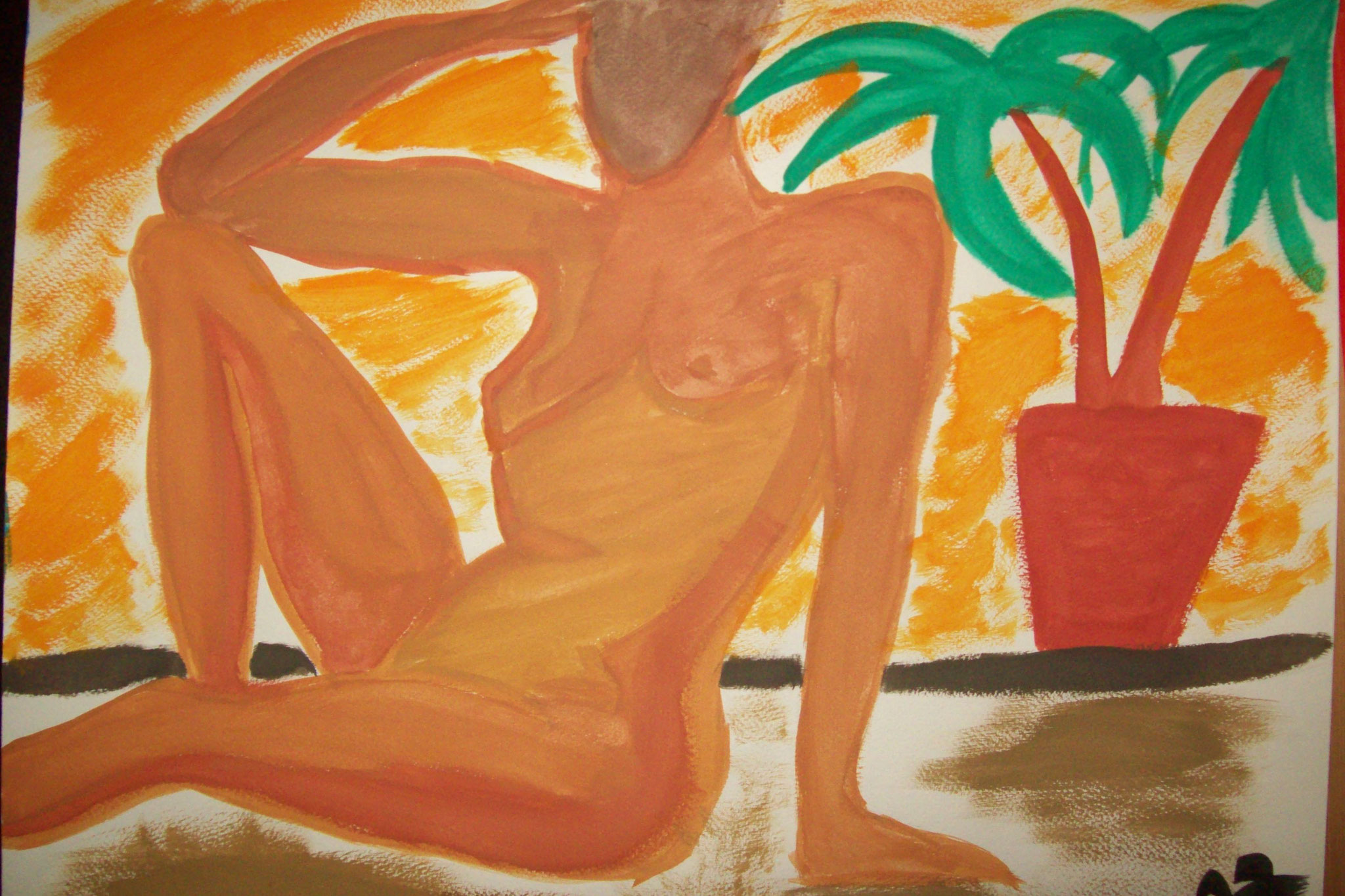 Frau in Gelb, Tusche, A3