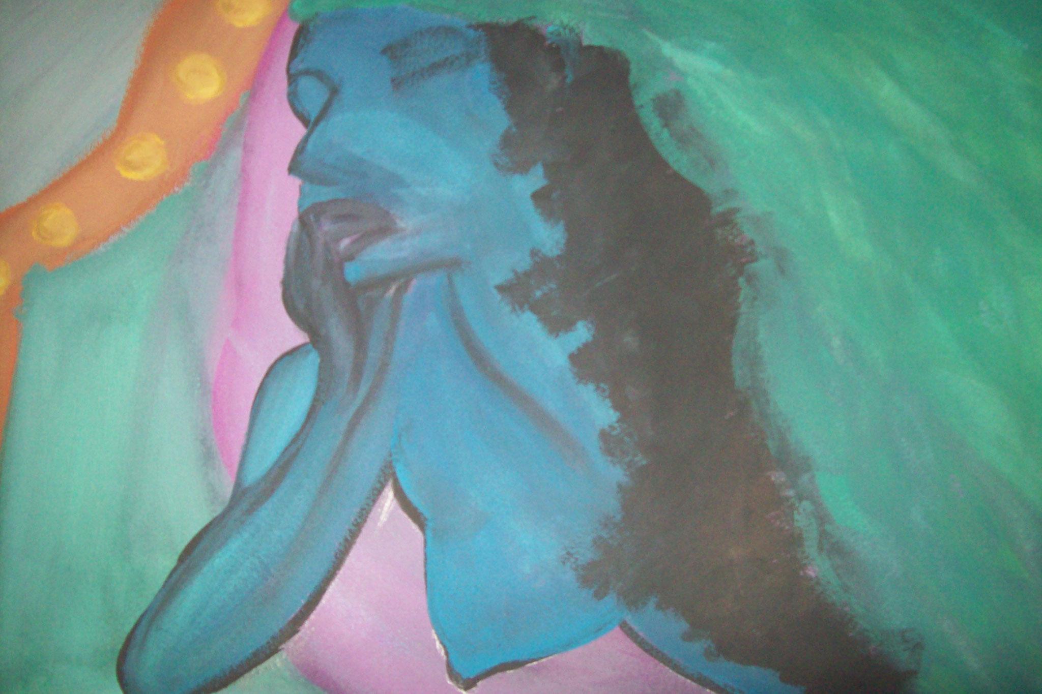 Frau in Blau, Tusche
